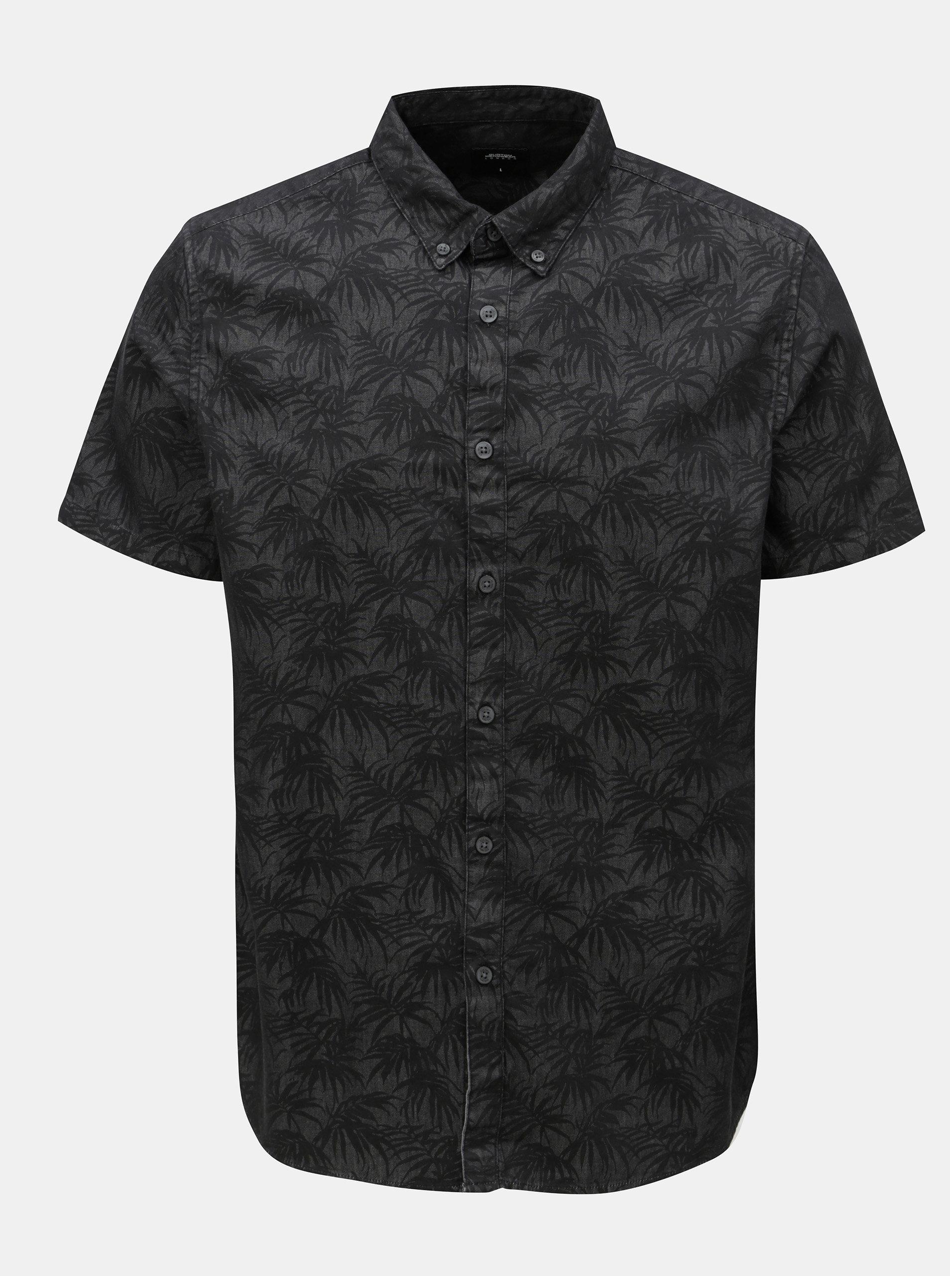 Tmavě šedá košile s motivem listů Burton Menswear London