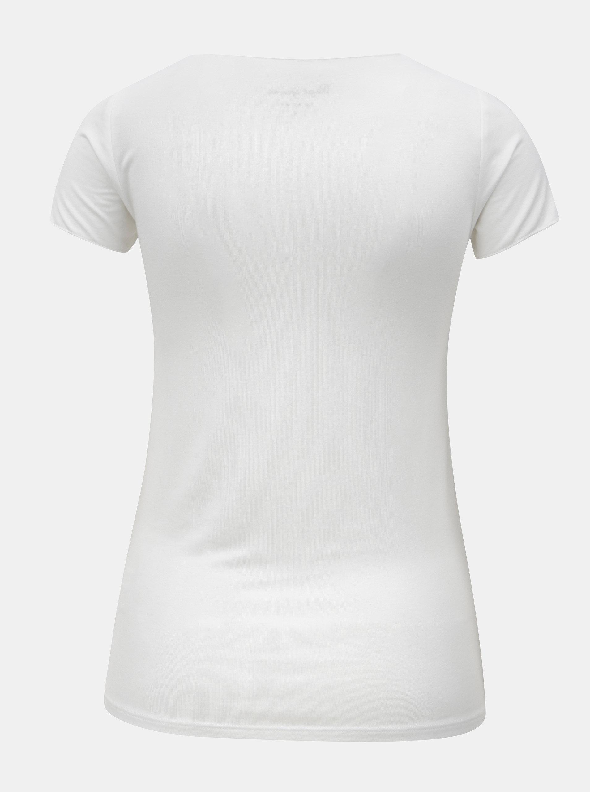 659a0cad916f Biele dámske tričko s potlačou Pepe Jeans ...