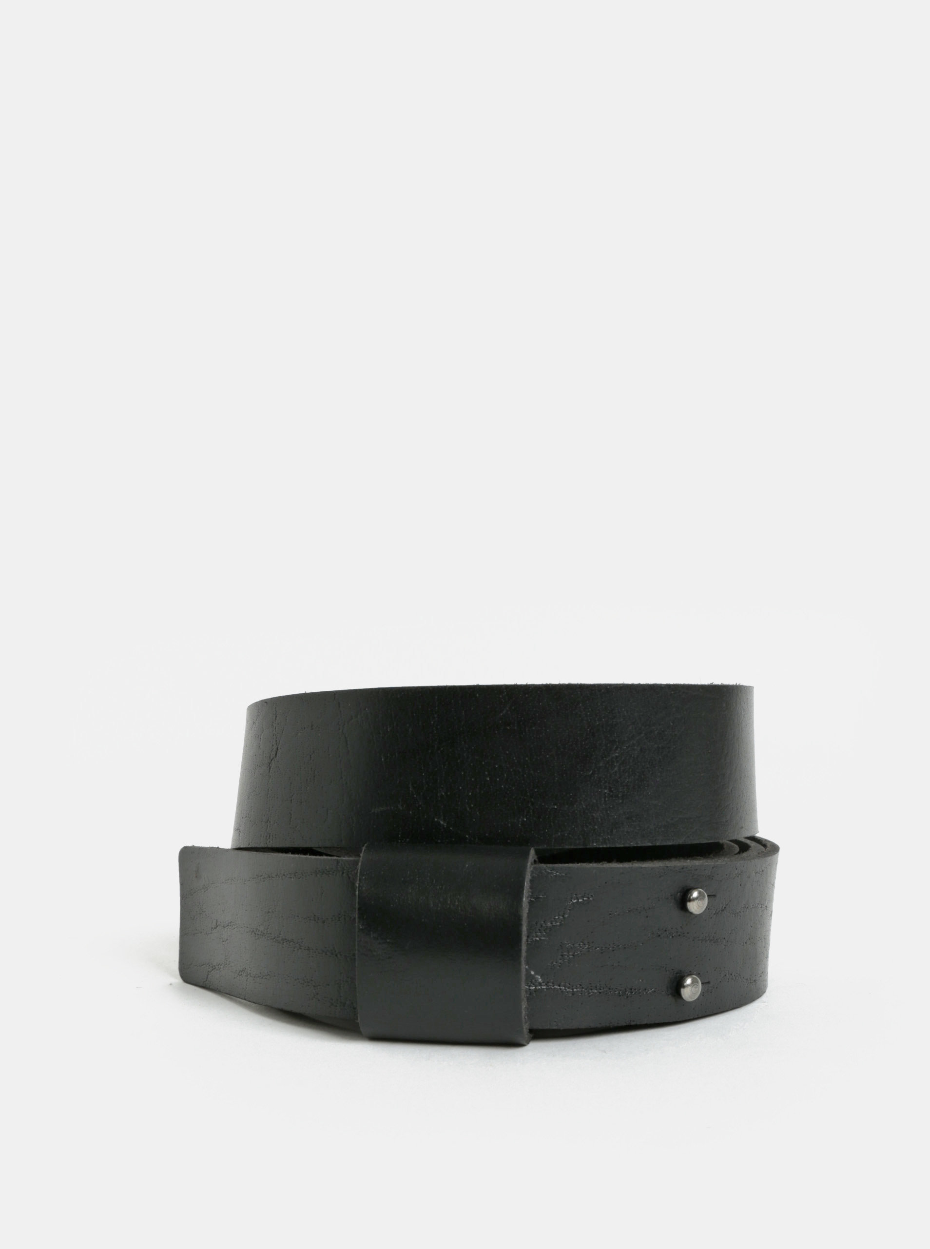 Černý pánský kožený pásek WOOX
