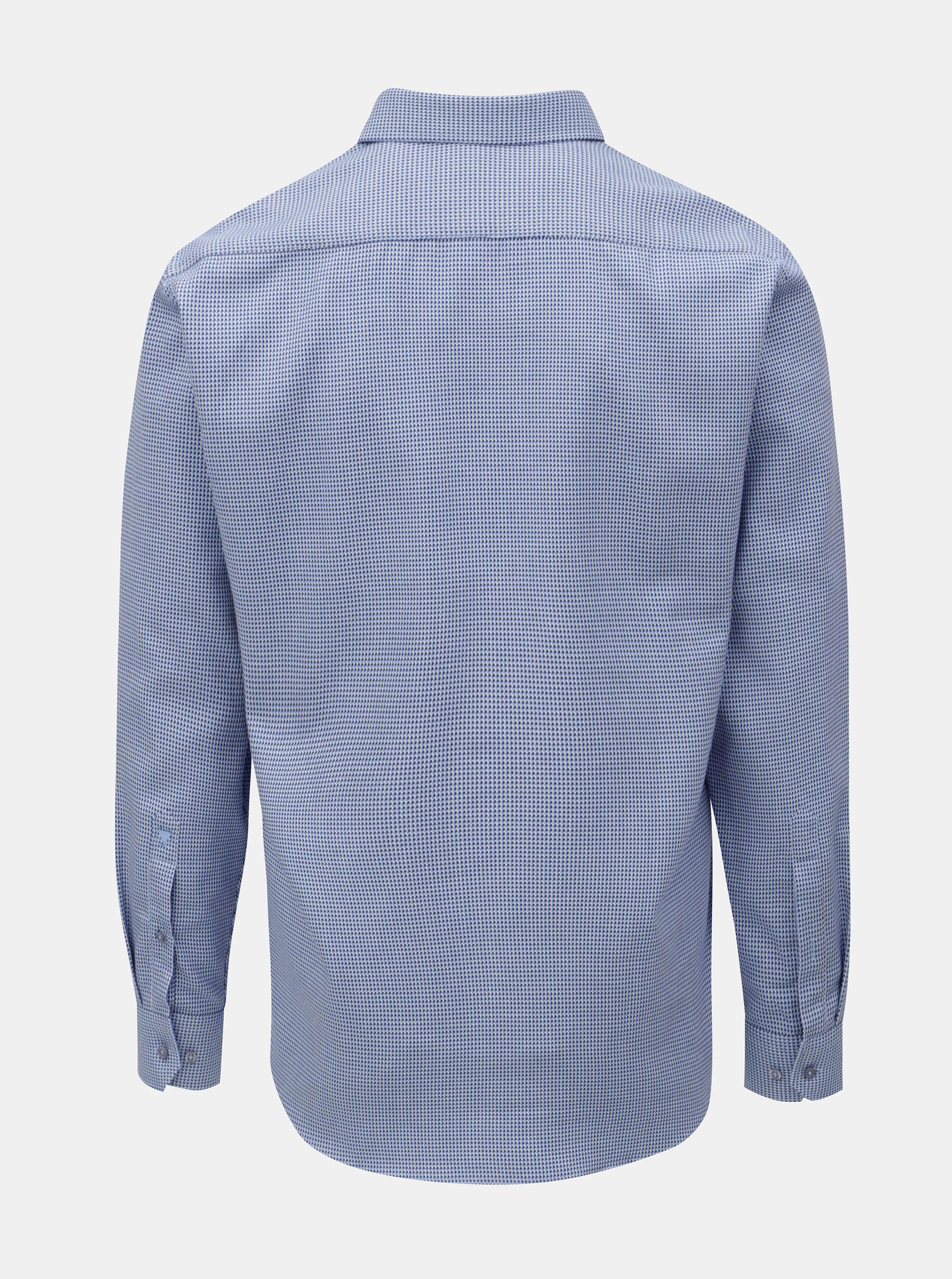 67370e685 Modrá pánska vzorovaná košeľa s dlhým rukávom VAVI | ZOOT.sk