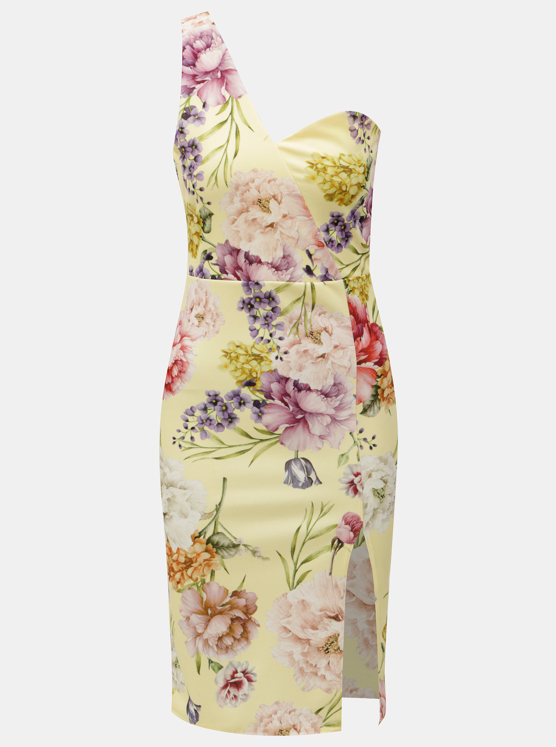 Žlté kvetované puzdrové šaty na jedno rameno MISSGUIDED ... 4d599927b79