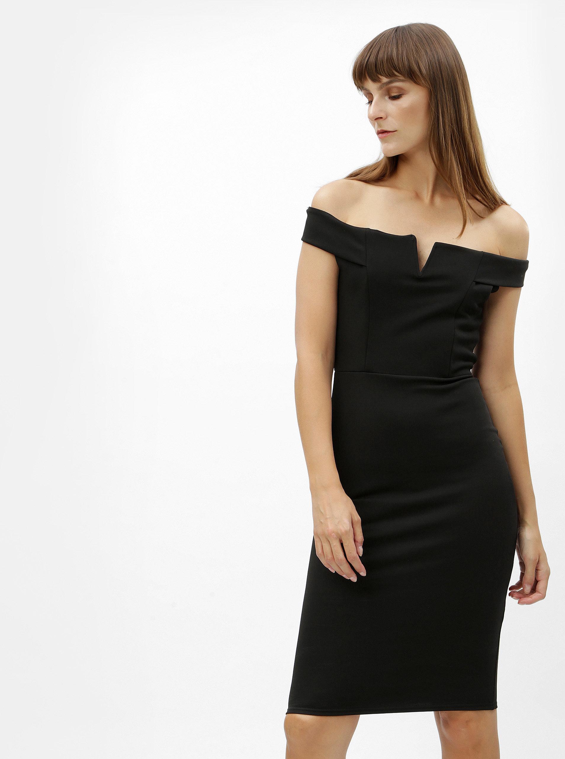 Čierne puzdrové šaty s odhalenými ramenami MISSGUIDED ... 637a9c497a9