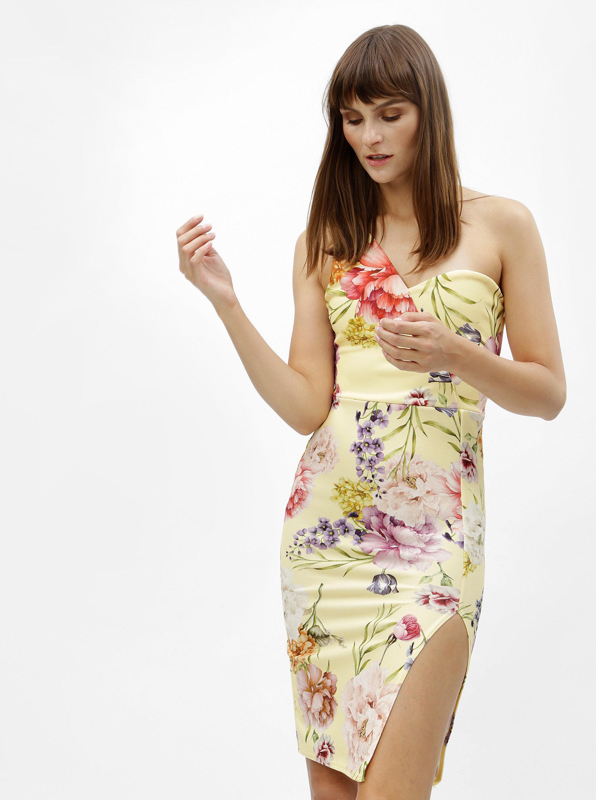 2809b91a3f02 Žlté kvetované puzdrové šaty na jedno rameno MISSGUIDED ...