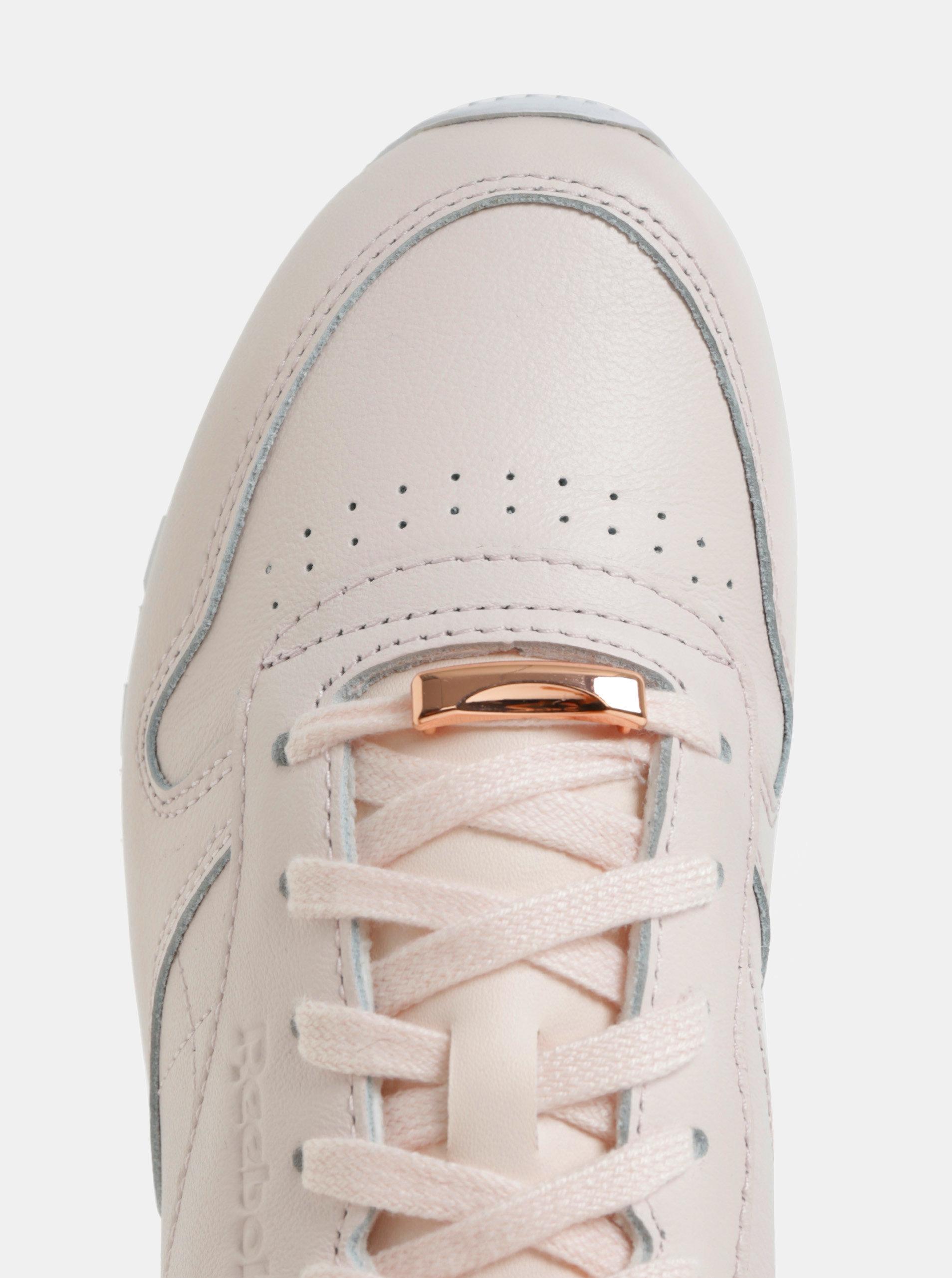 Světle růžové dámské kožené tenisky Reebok Classic ... 427e32ec6b