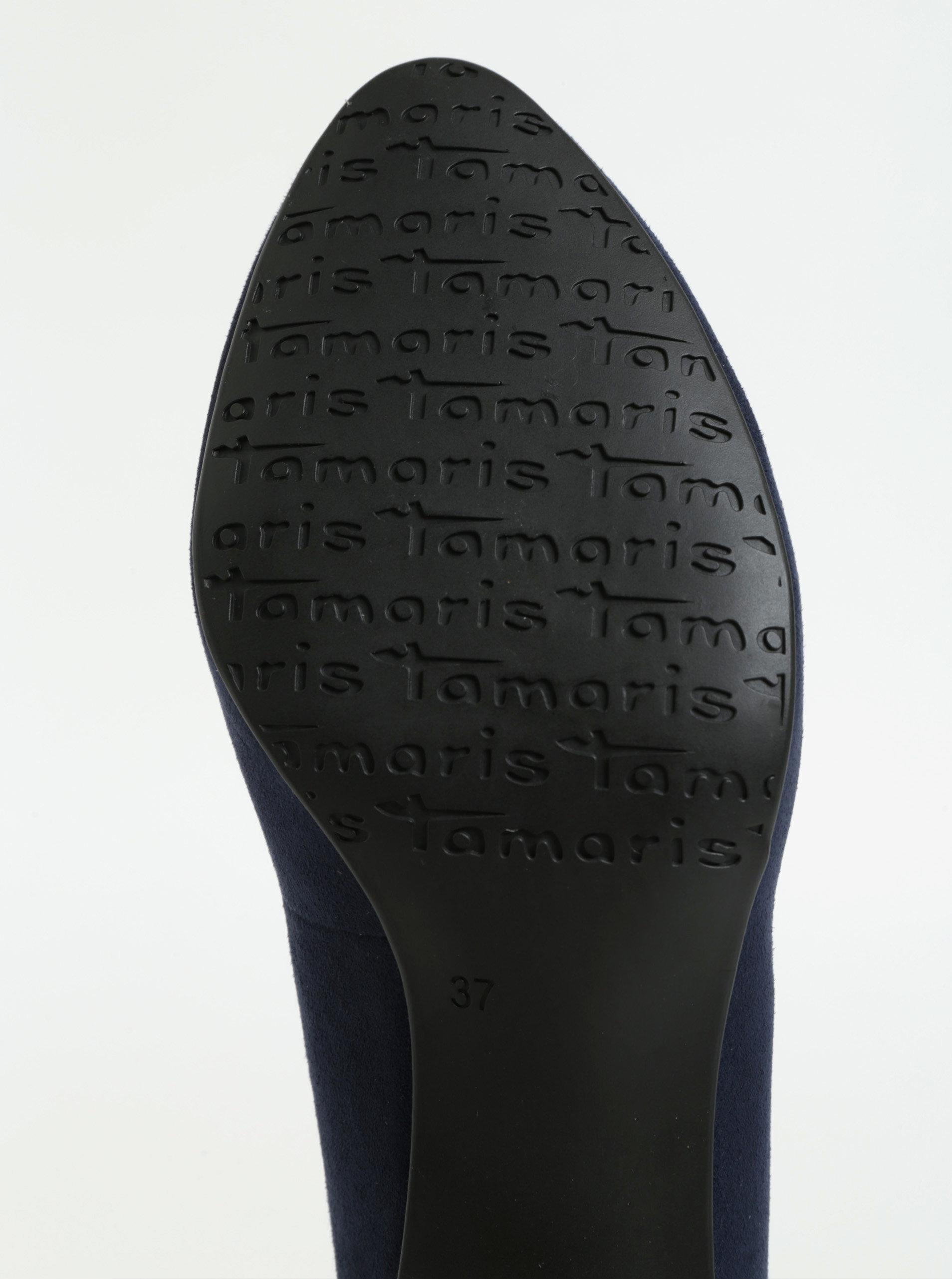 Tmavě modré lodičky v semišové úpravě na nízkém podpatku Tamaris ... 10b15e2ff1