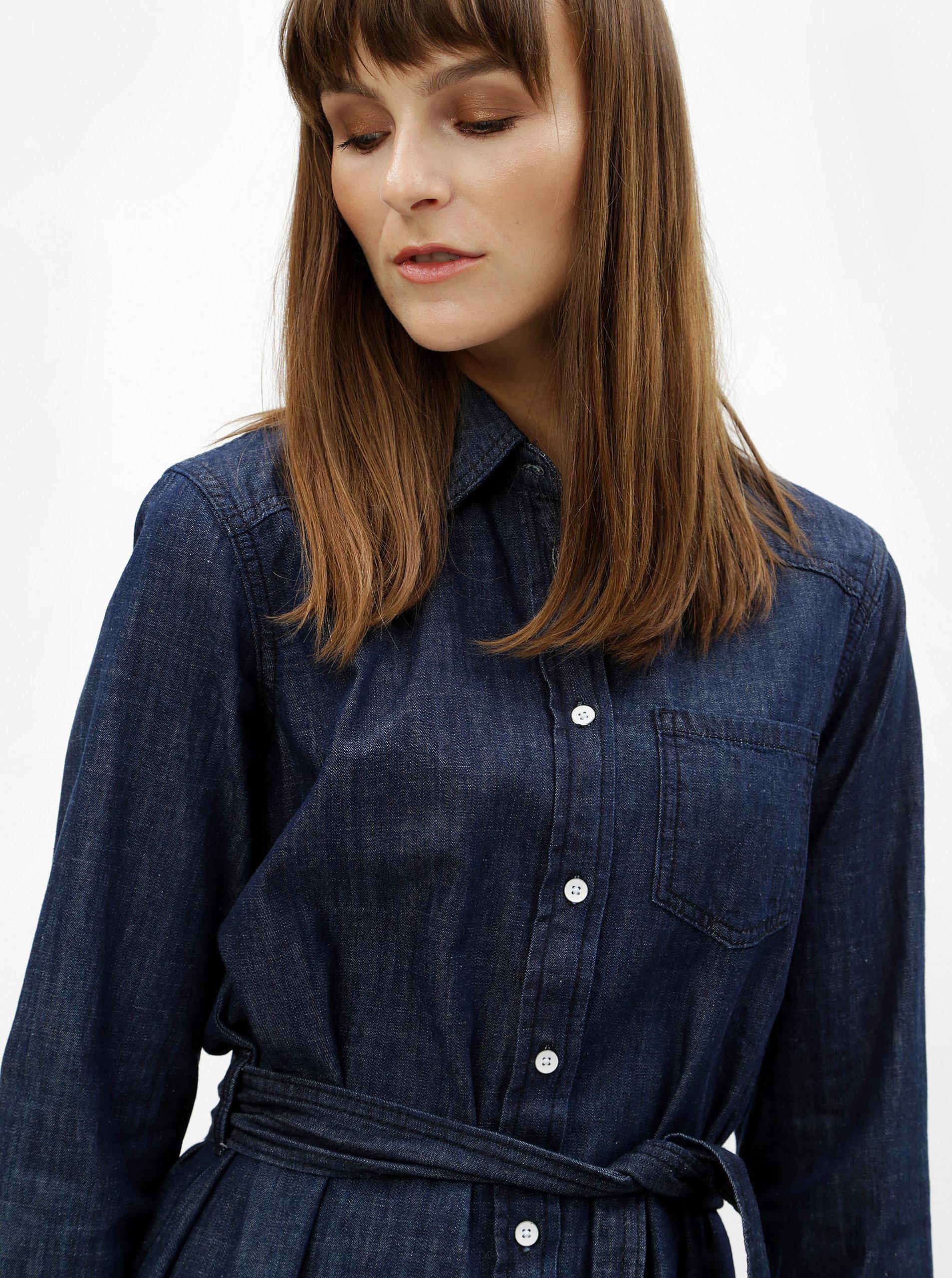 Modré košilové šaty s páskem Jacqueline de Yong Esra