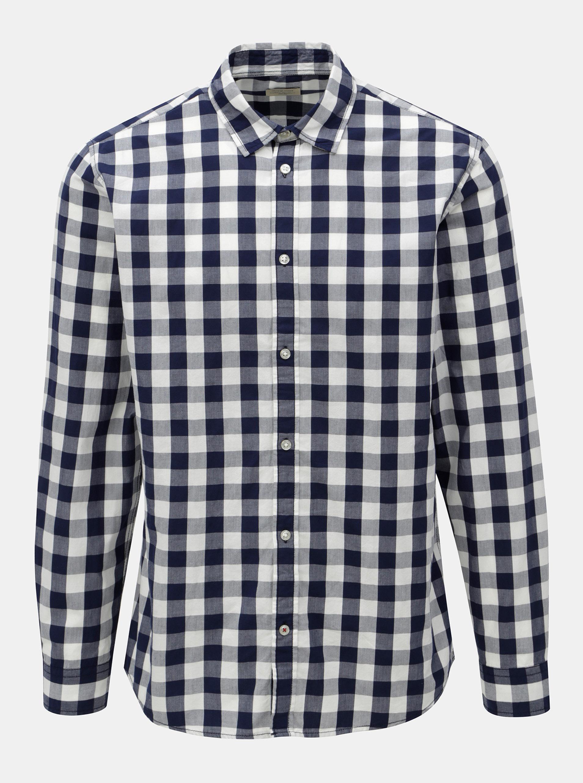 4baeaf9147b5 Bielo-modrá kockovaná košeľa s dlhým rukávom Jack   Jones Gingham ...