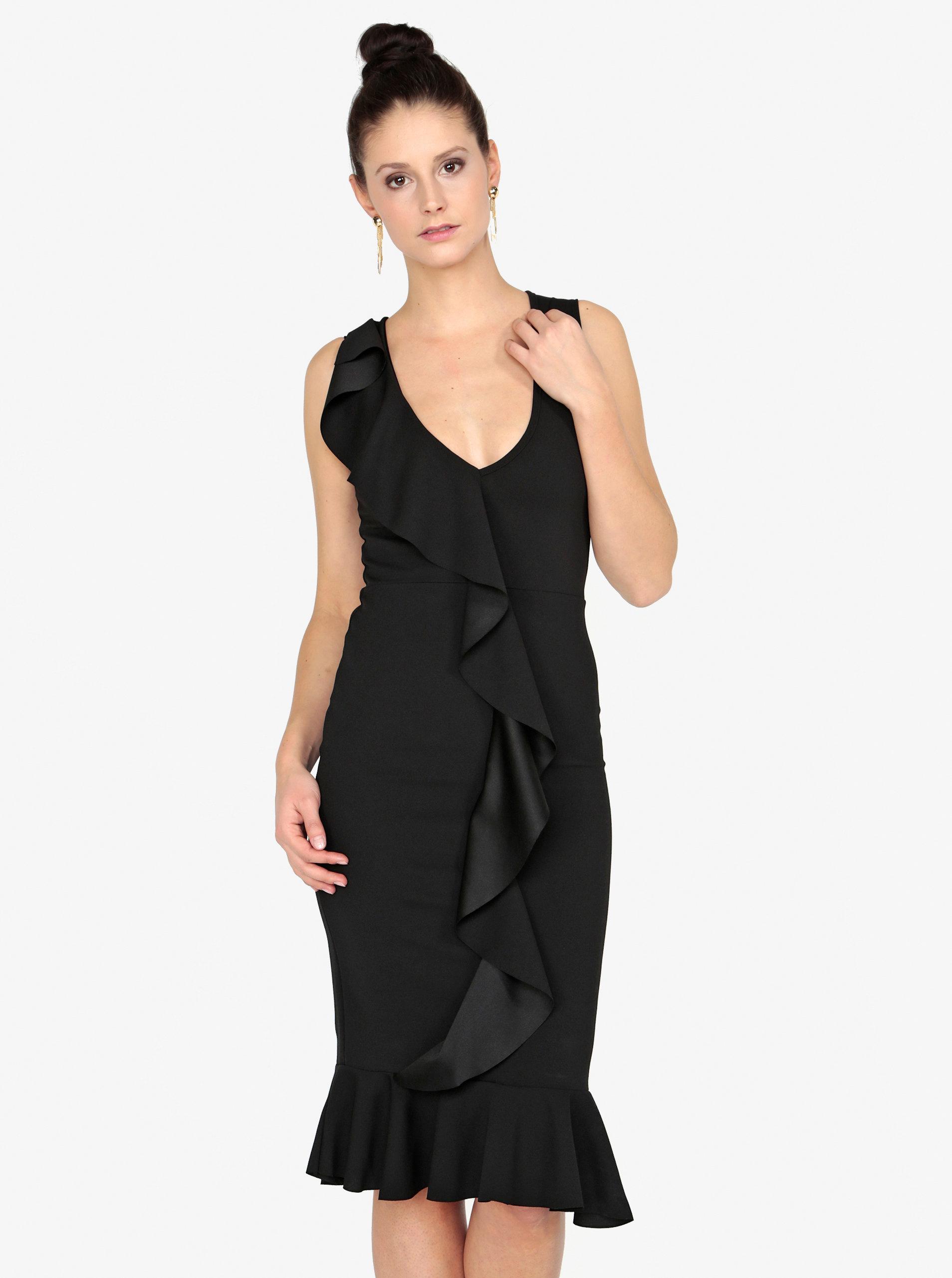 e20c6d4b790 Černé pouzdrové šaty s volánem MISSGUIDED ...