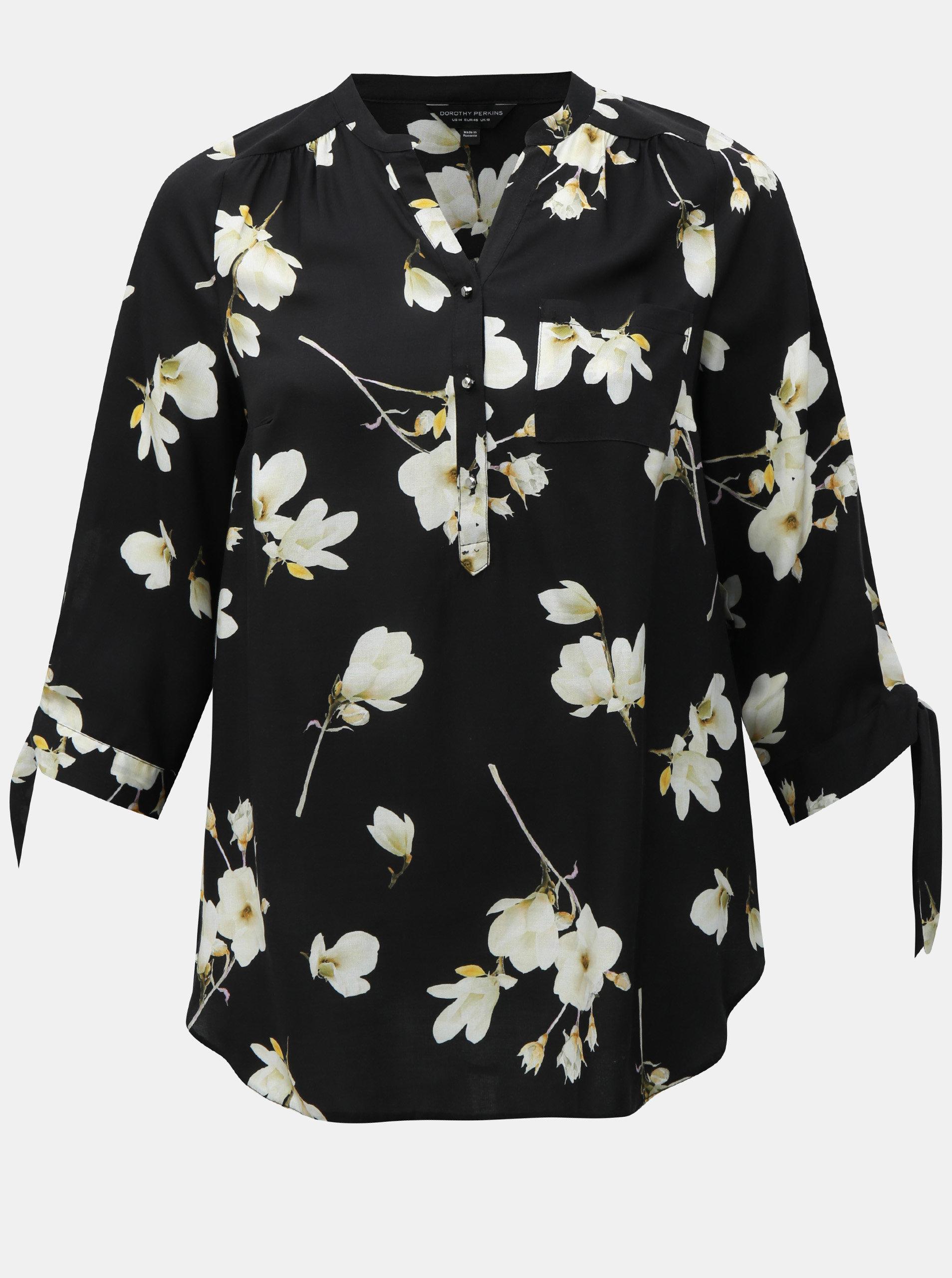 Černá květovaná halenka s 3 4 rukávy Dorothy Perkins Curve ... f9790acb9c