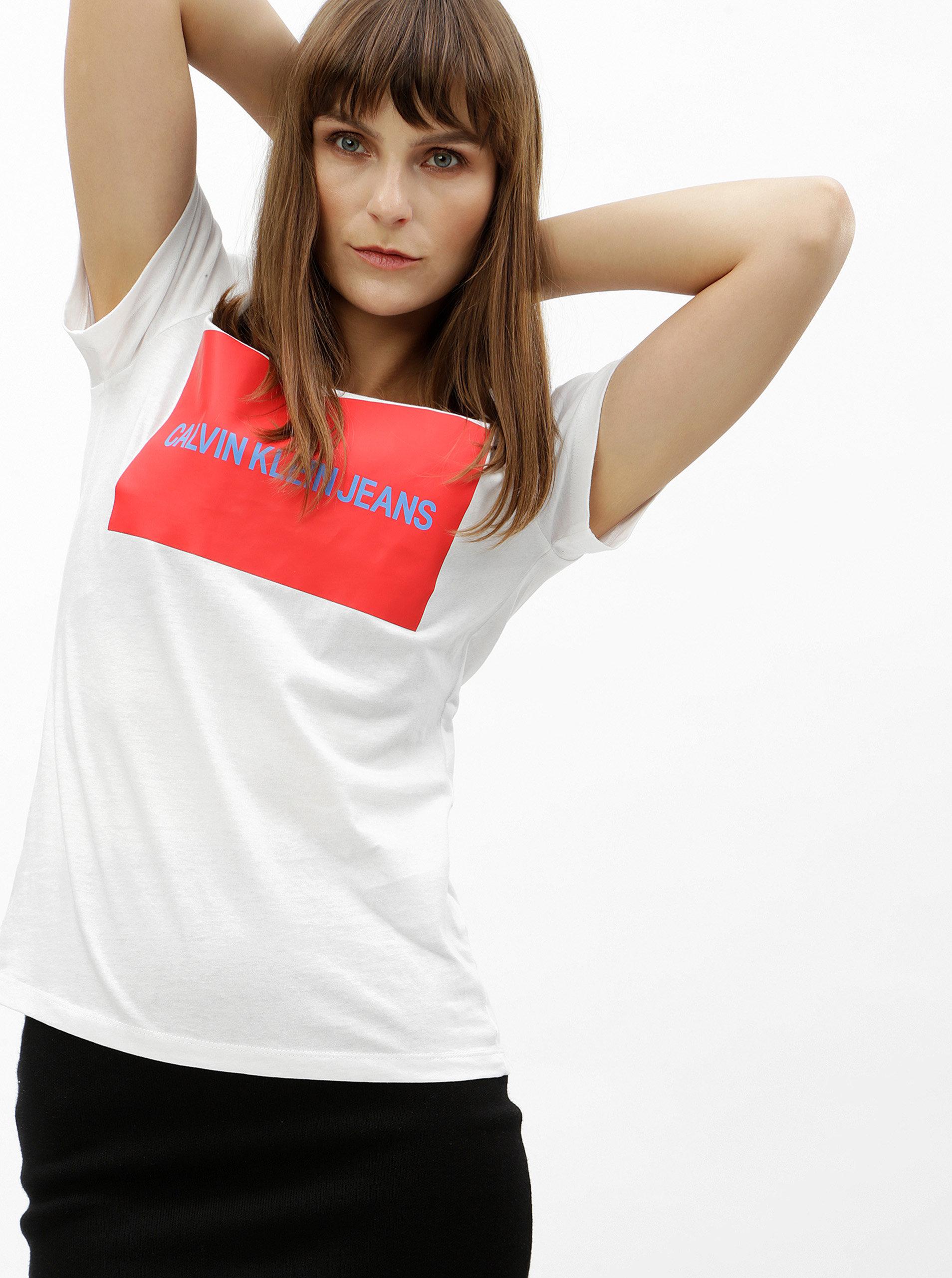 4c436511784 Bílé dámské tričko s potiskem Calvin Klein Jeans ...