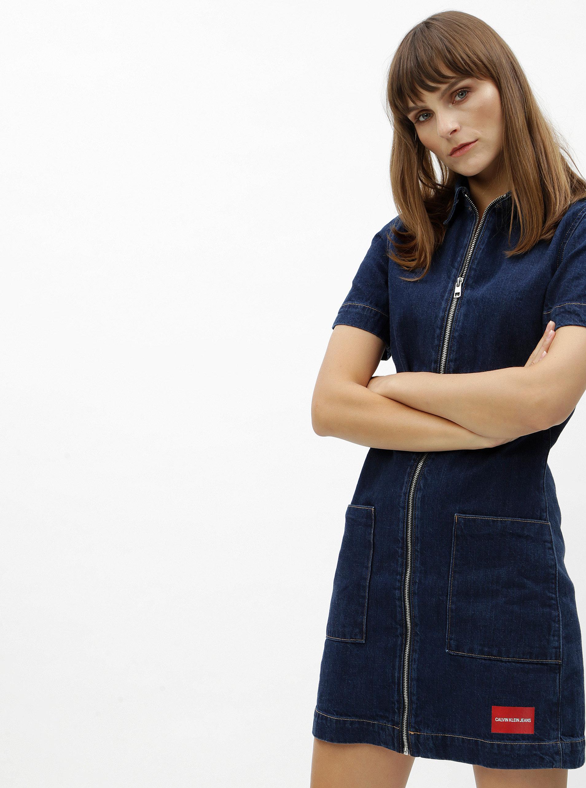 0b18006cb605 Modré džínové šaty Calvin Klein Jeans ...