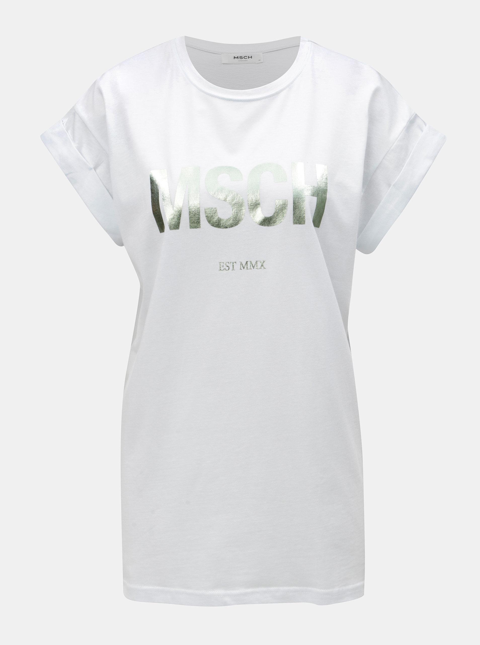 Bílé volné tričko s metalickým potiskem Moss Copenhagen Alva