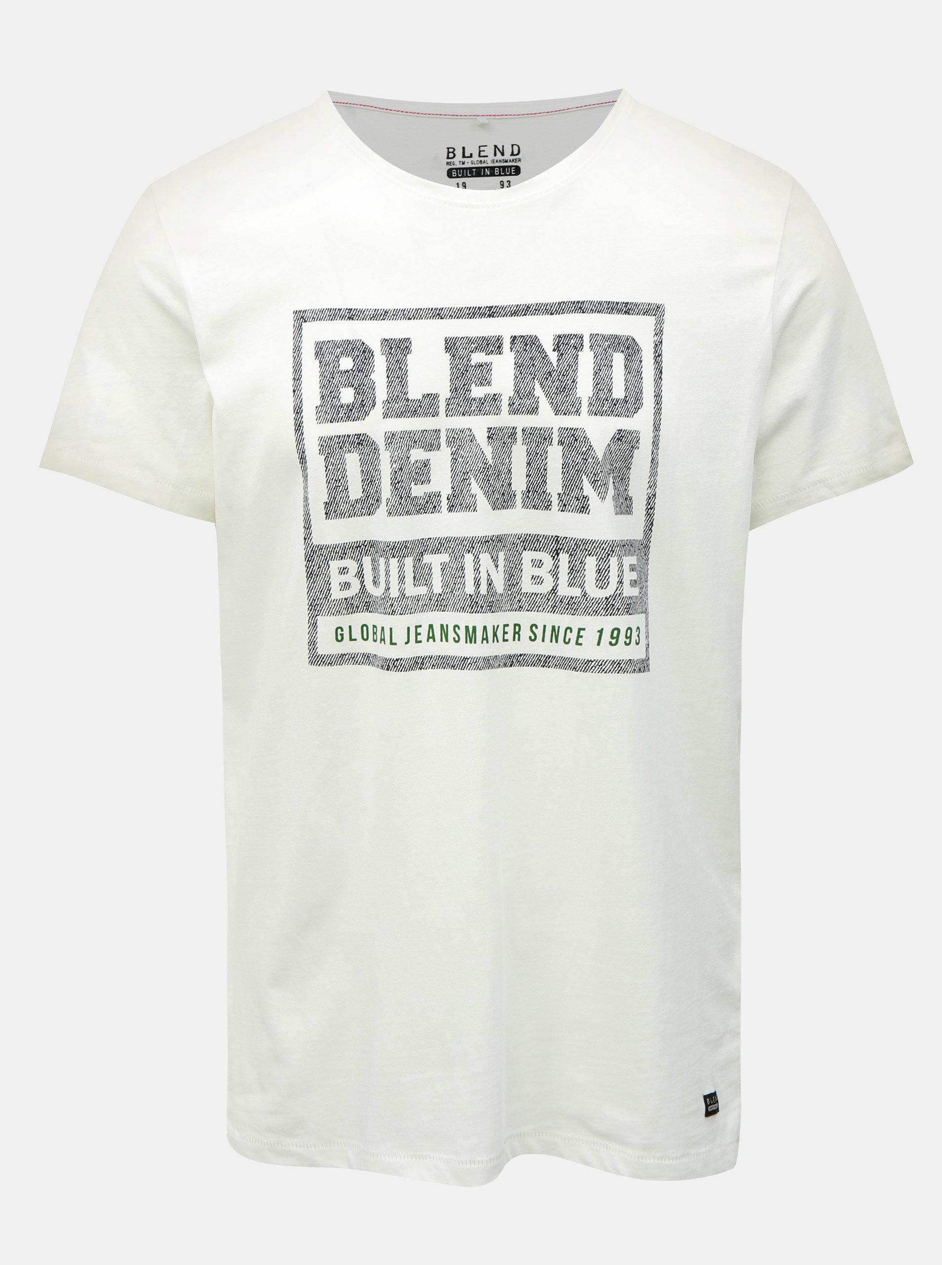 7e01b3950bd8 Bílé regular tričko s krátkým rukávem a potiskem Blend ...