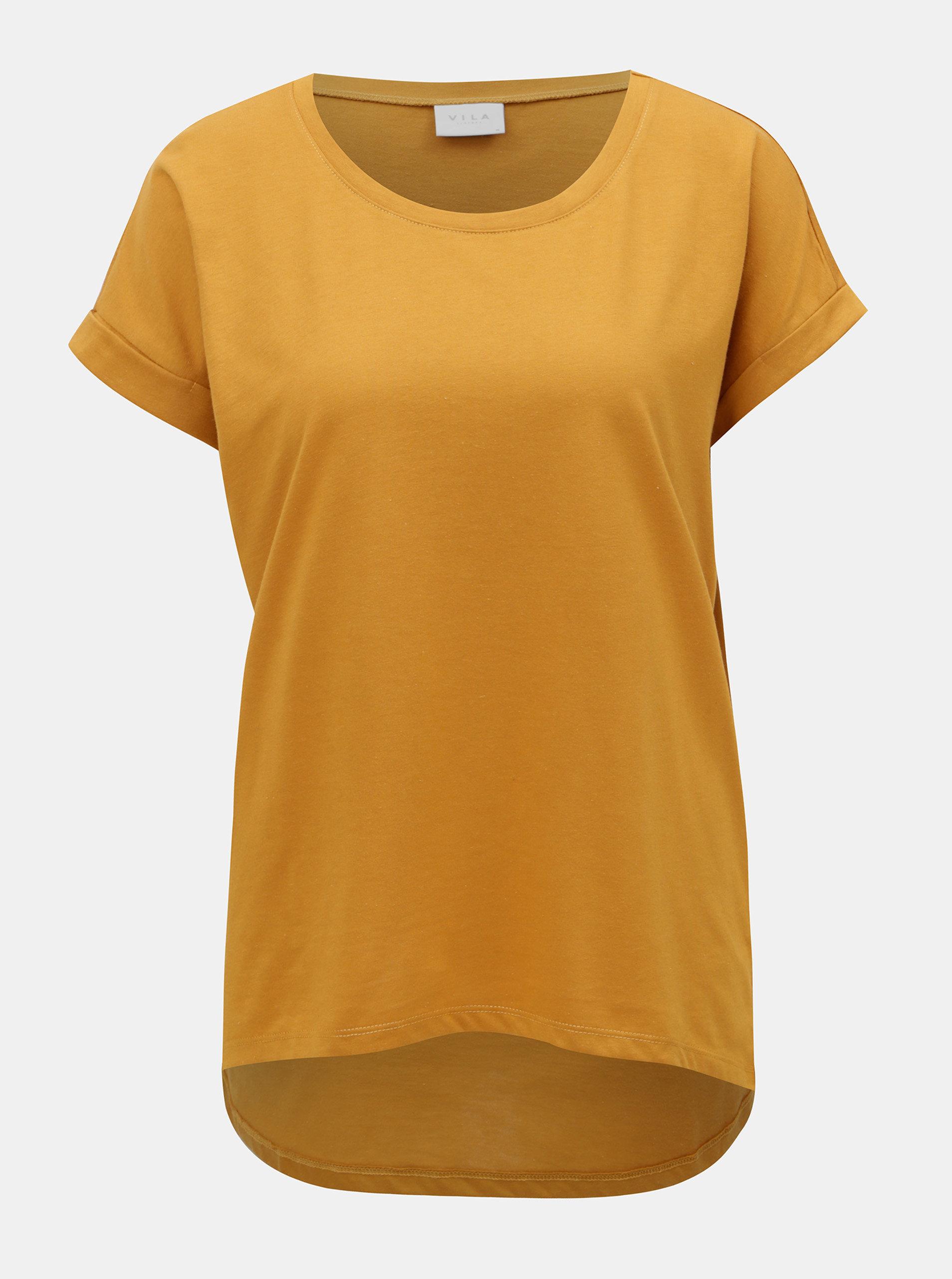 Hořčicové tričko VILA Dreamers