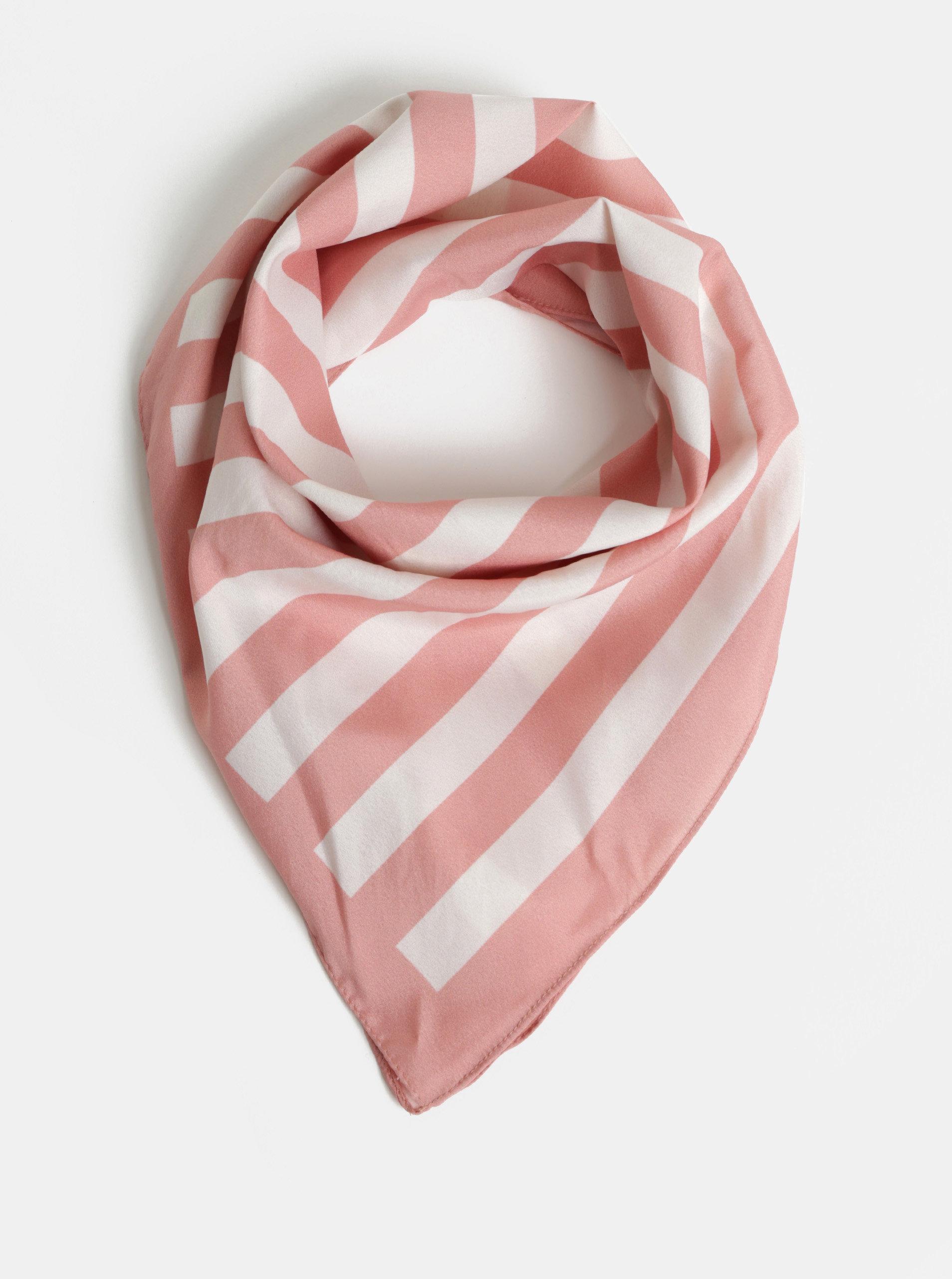 Bíla-růžový pruhovaný šátek Pieces Tamaris