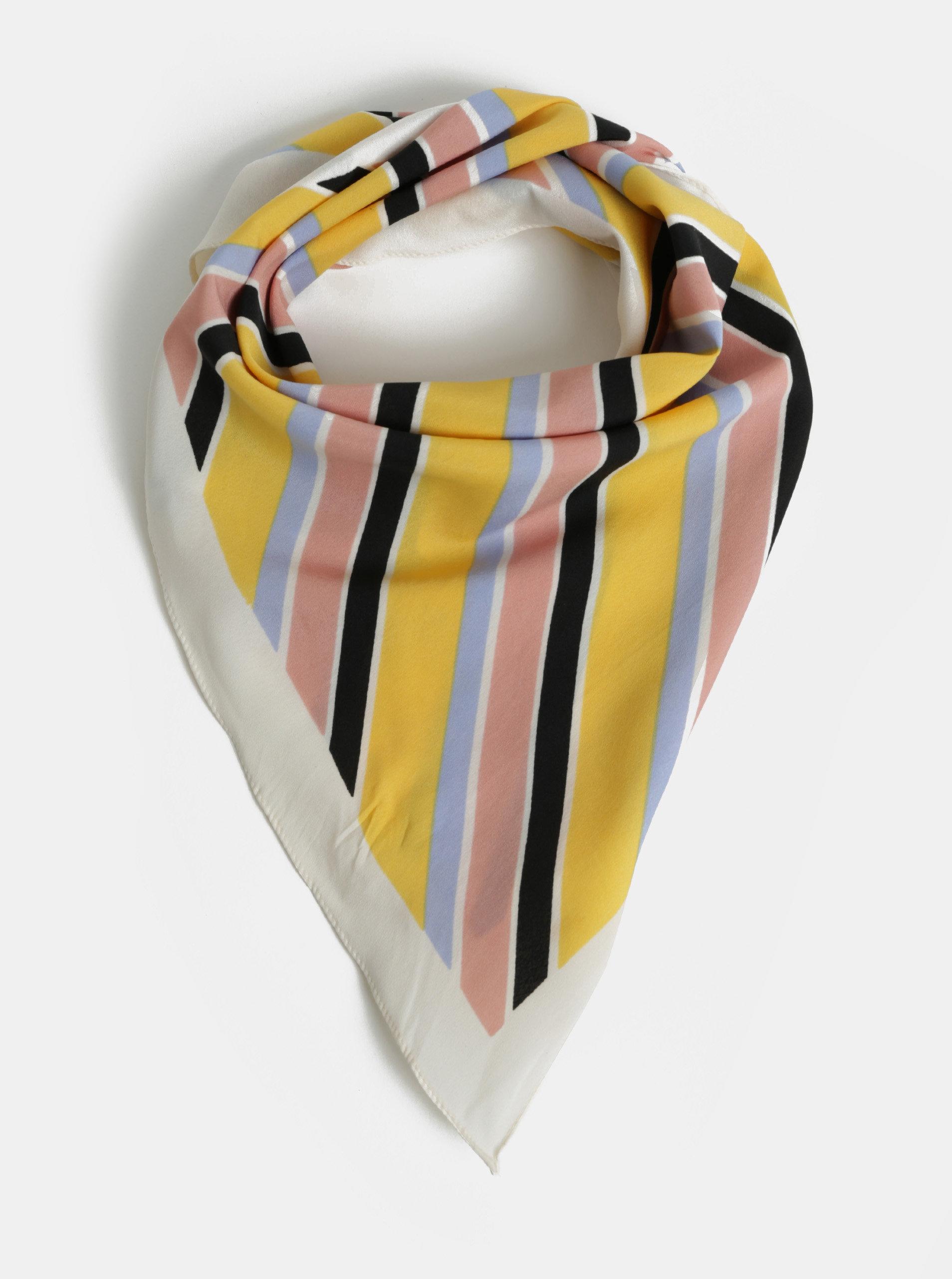 Krémovo-žlutý pruhovaný šátek Pieces Tamaris