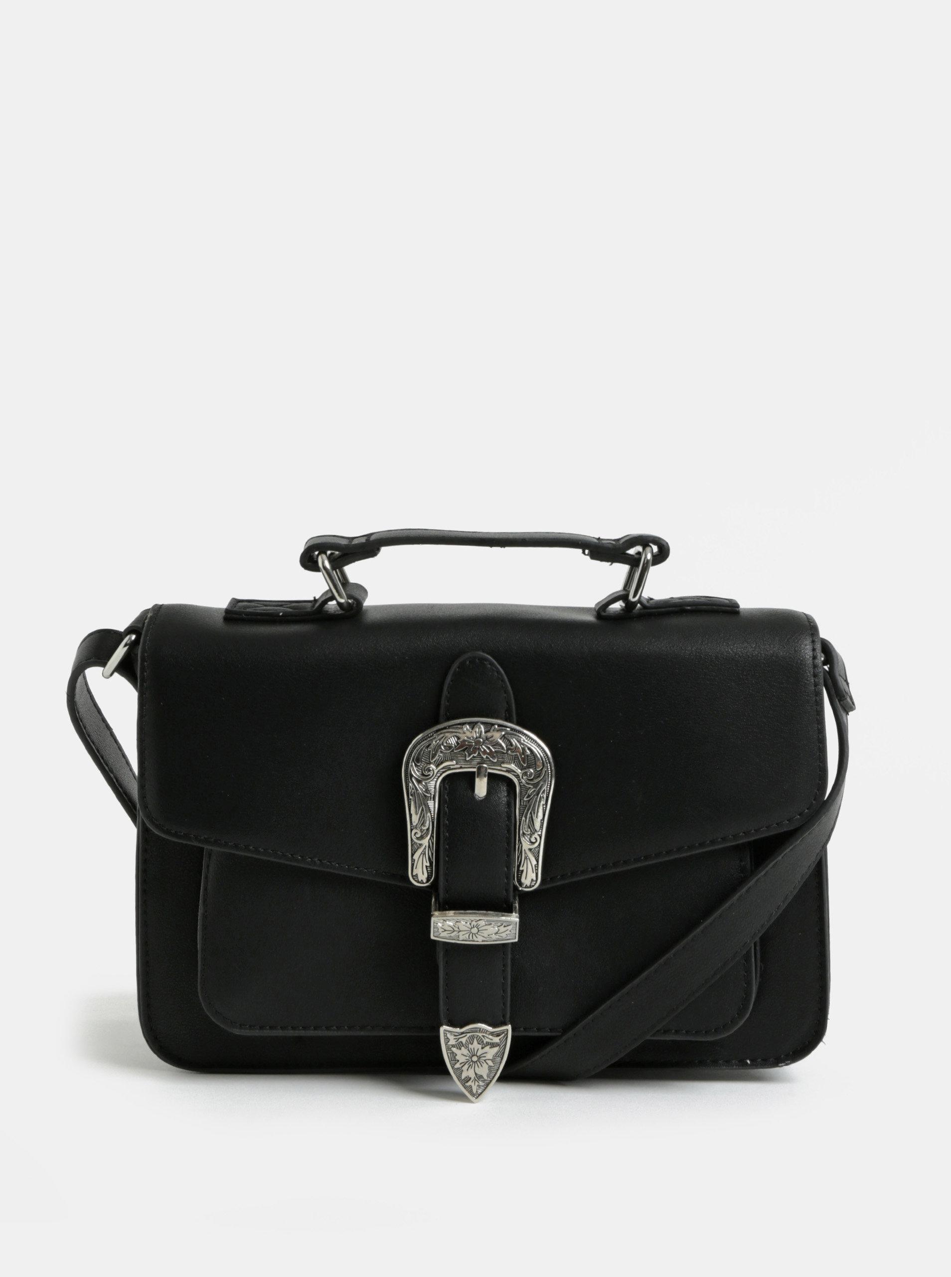 Černá malá crossbody kabelka se sponou ve stříbrné barvě Pieces Faustine