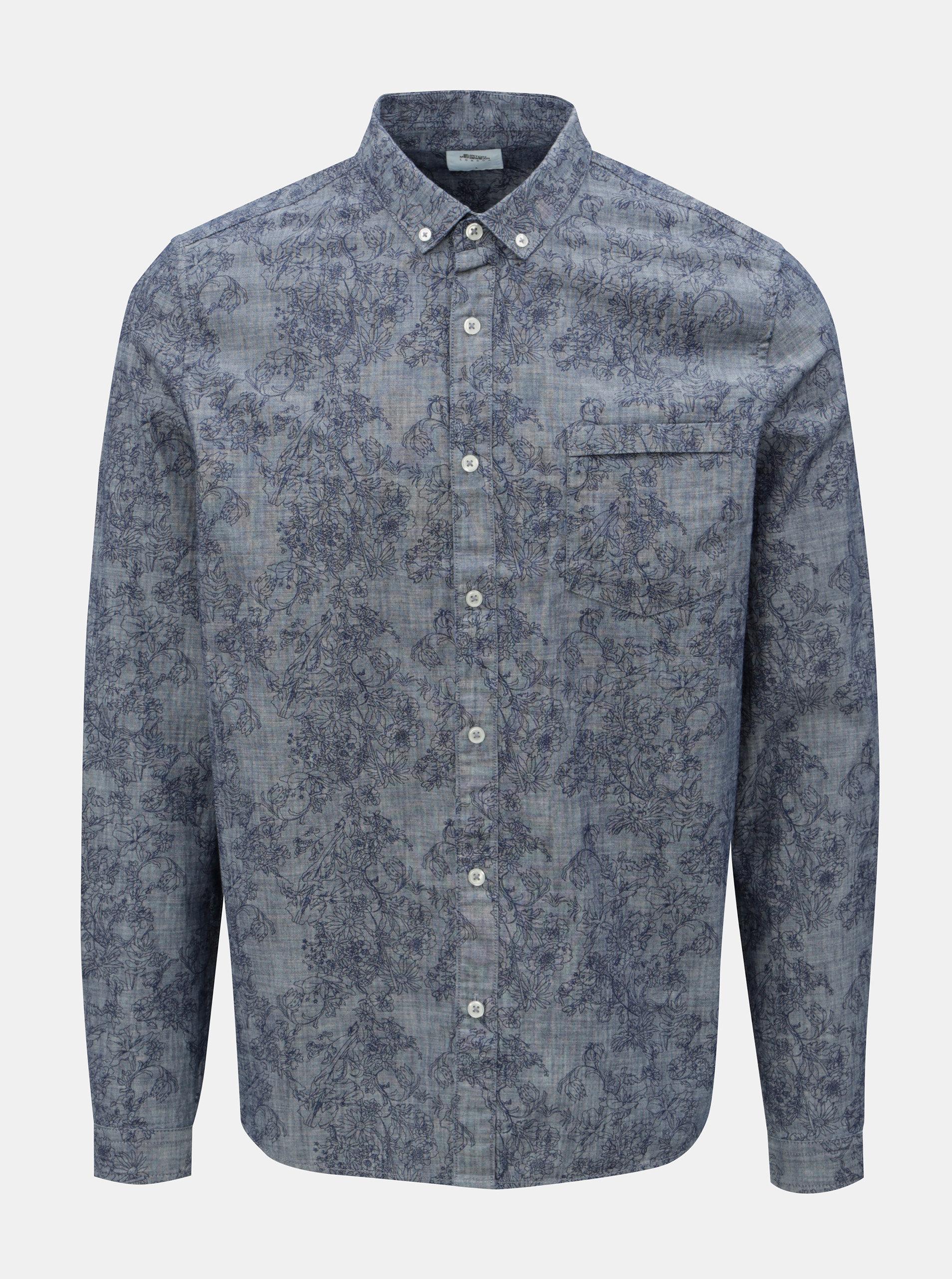 Modrá vzorovaná košile s náprsní kapsou Burton Menswear London