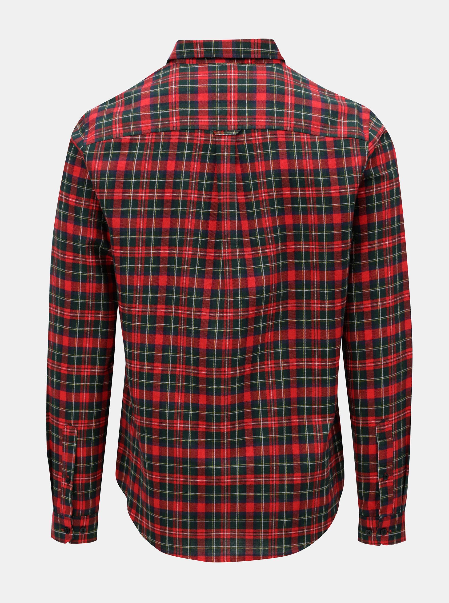 73e0d3aeb2f2 Červená károvaná košeľa s náprsným vreckom Burton Menswear London ...