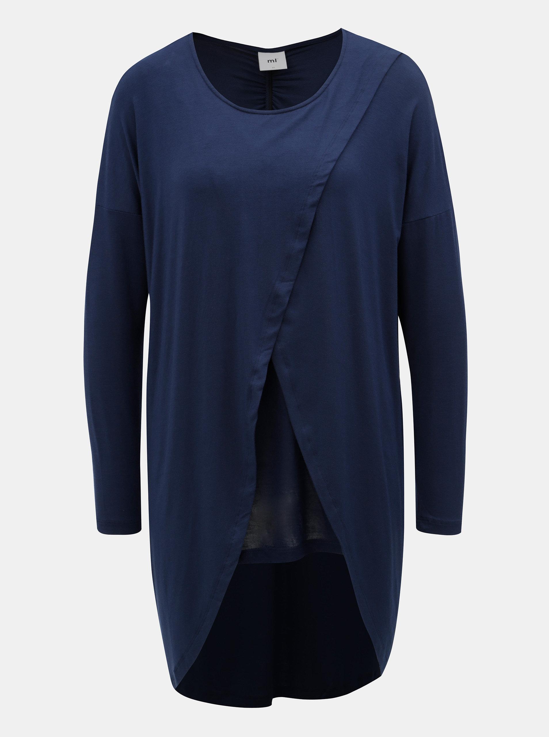 Tmavě modré dlouhé tričko s dlouhým rukávem Mama.licious