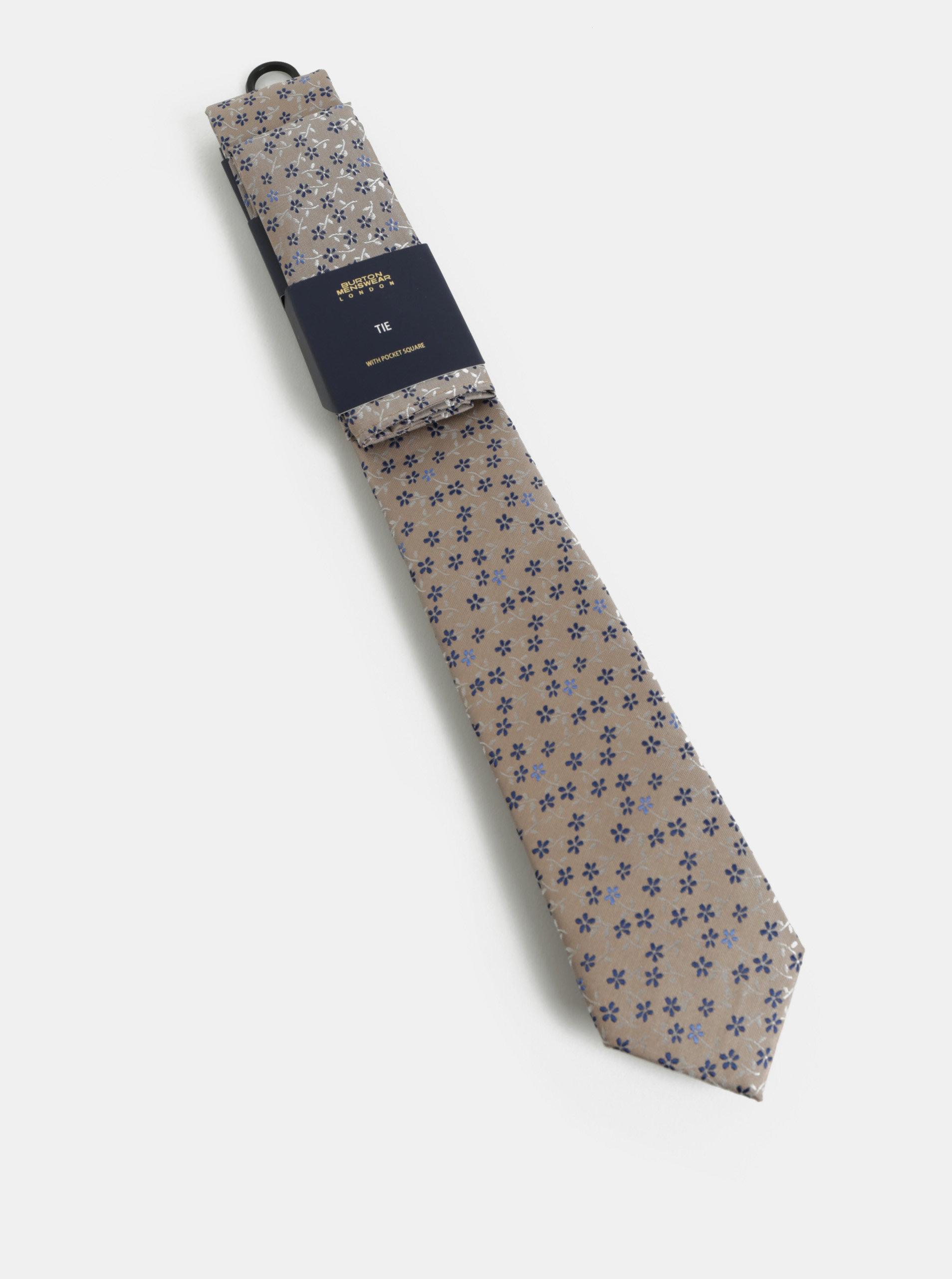 fc172f03065 Béžová vzorovaná slim kravata s kapesníčkem do klopy saka Burton Menswear  London ...
