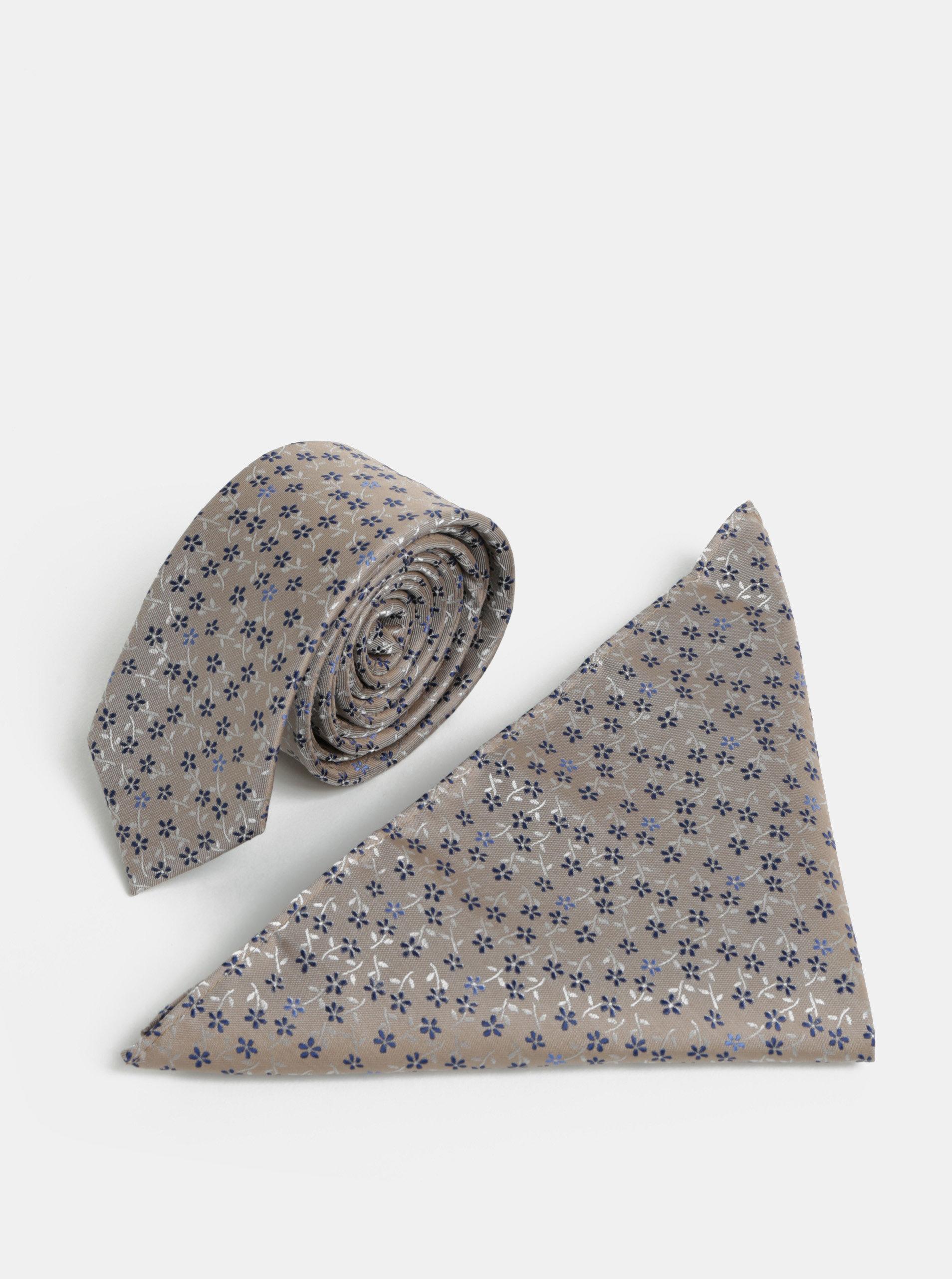 Béžová vzorovaná slim kravata s kapesníčkem do klopy saka Burton Menswear London