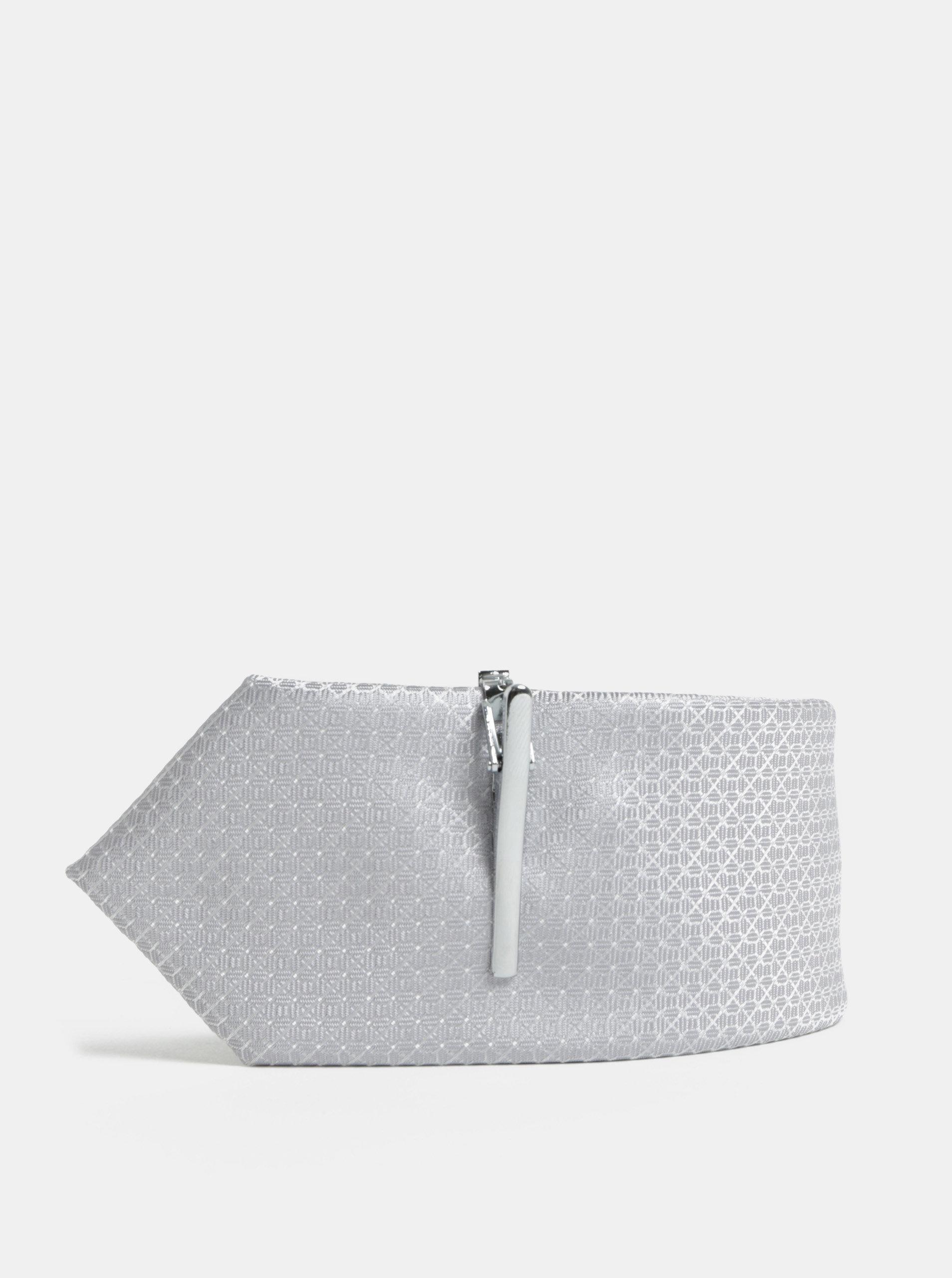 Šedá vzorovaná kravata se sponou Burton Menswear London