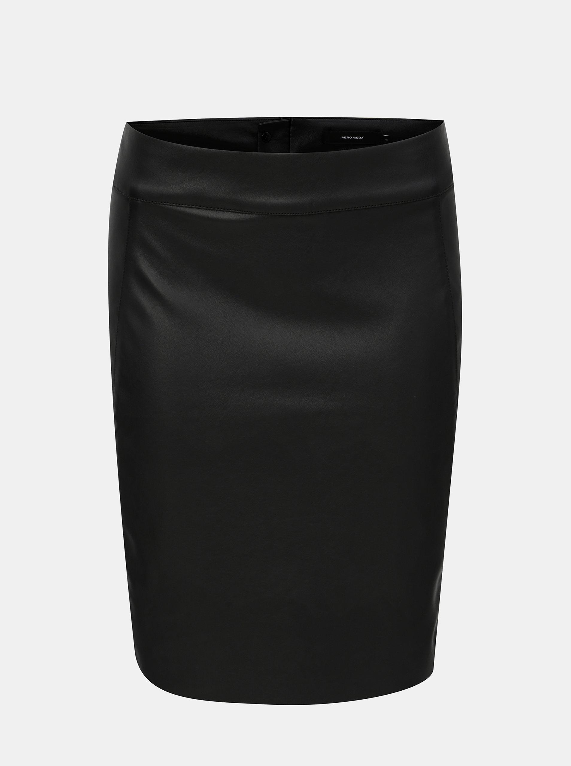 Černá koženková sukně VERO MODA