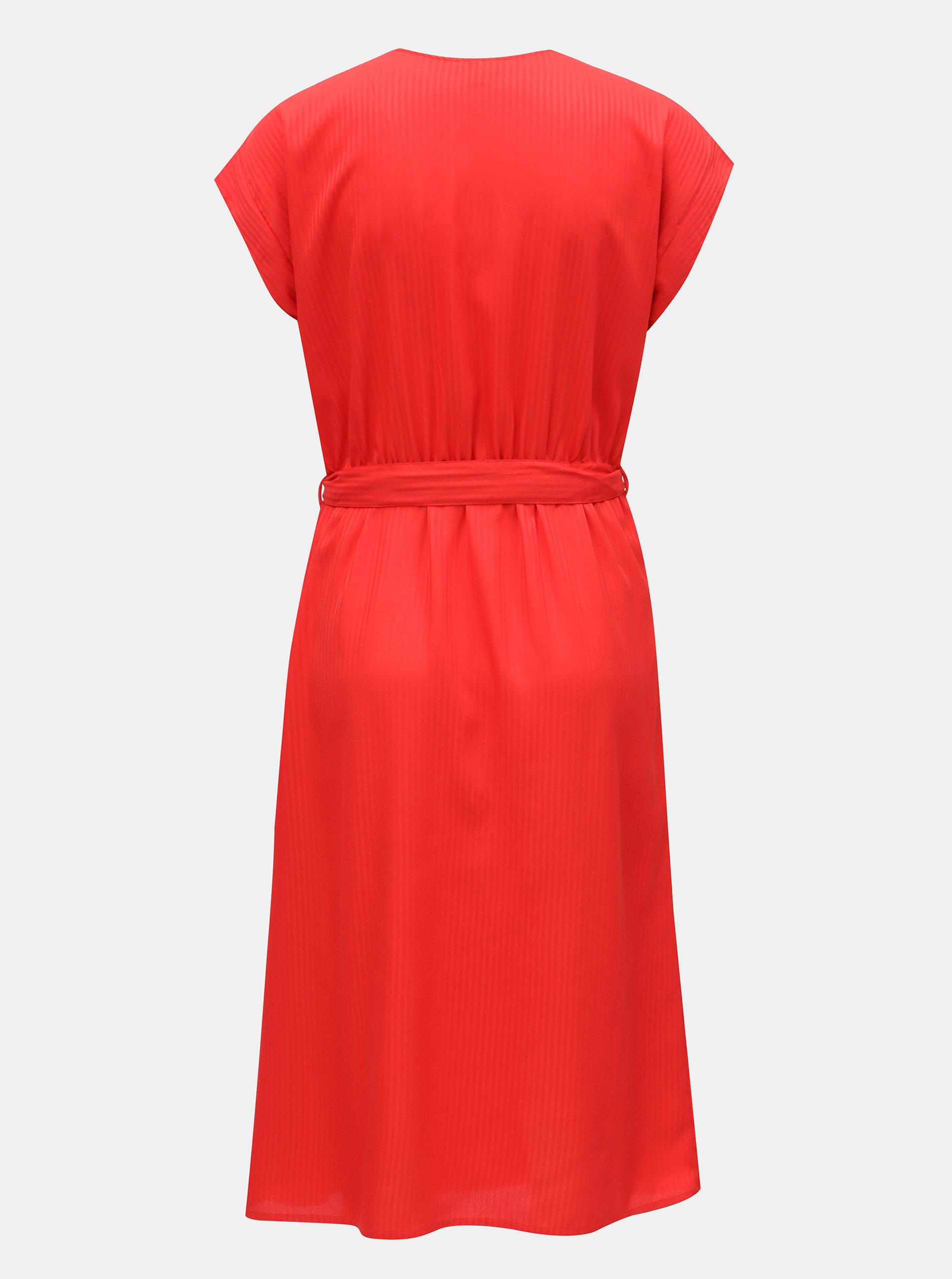 988851a4bb76 Červené pruhované šaty s překládanou přední částí VERO MODA ...
