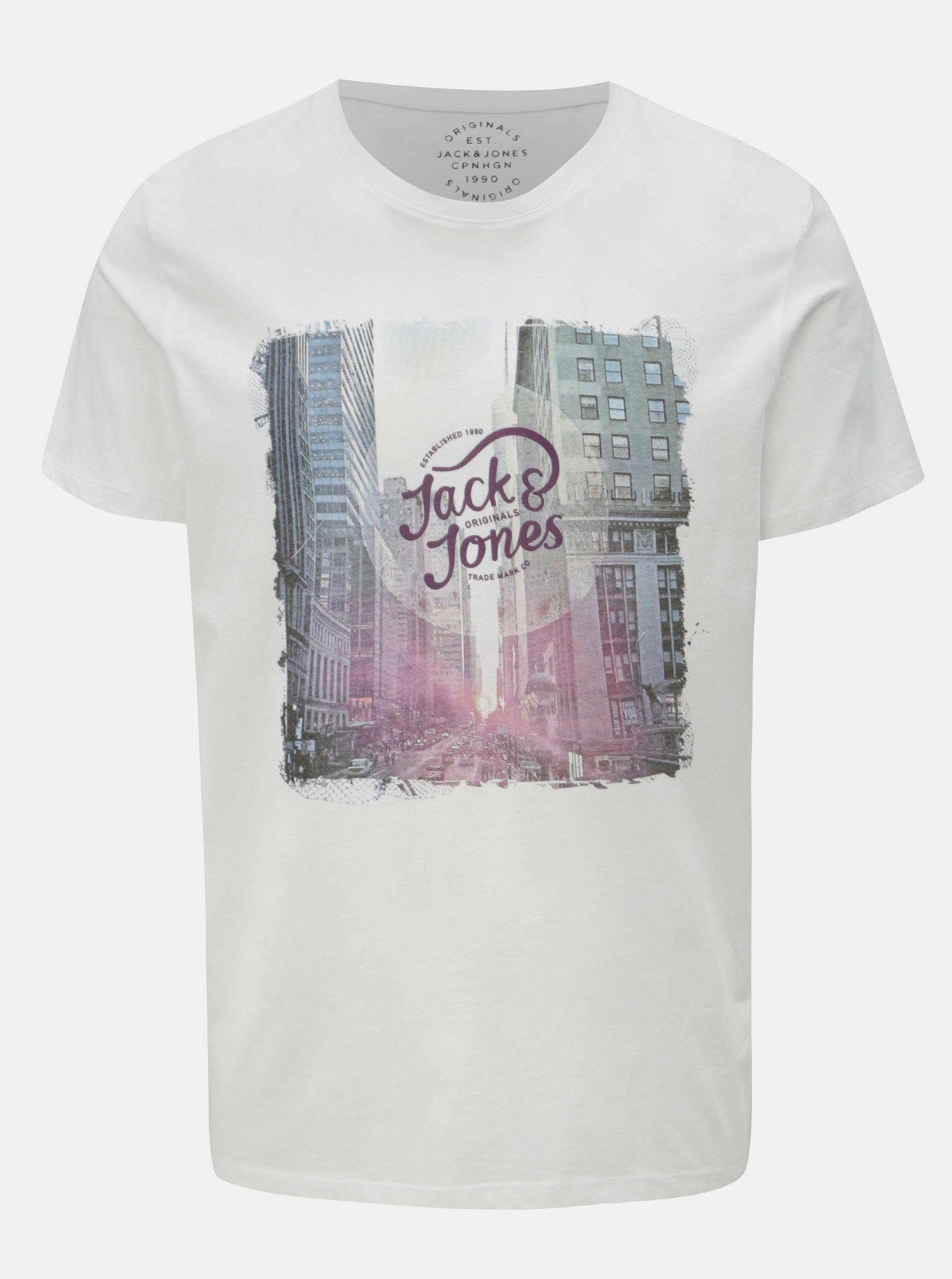 8a040a7d67 Biele tričko s potlačou a krátkym rukávom Jack   Jones Autumn city ...