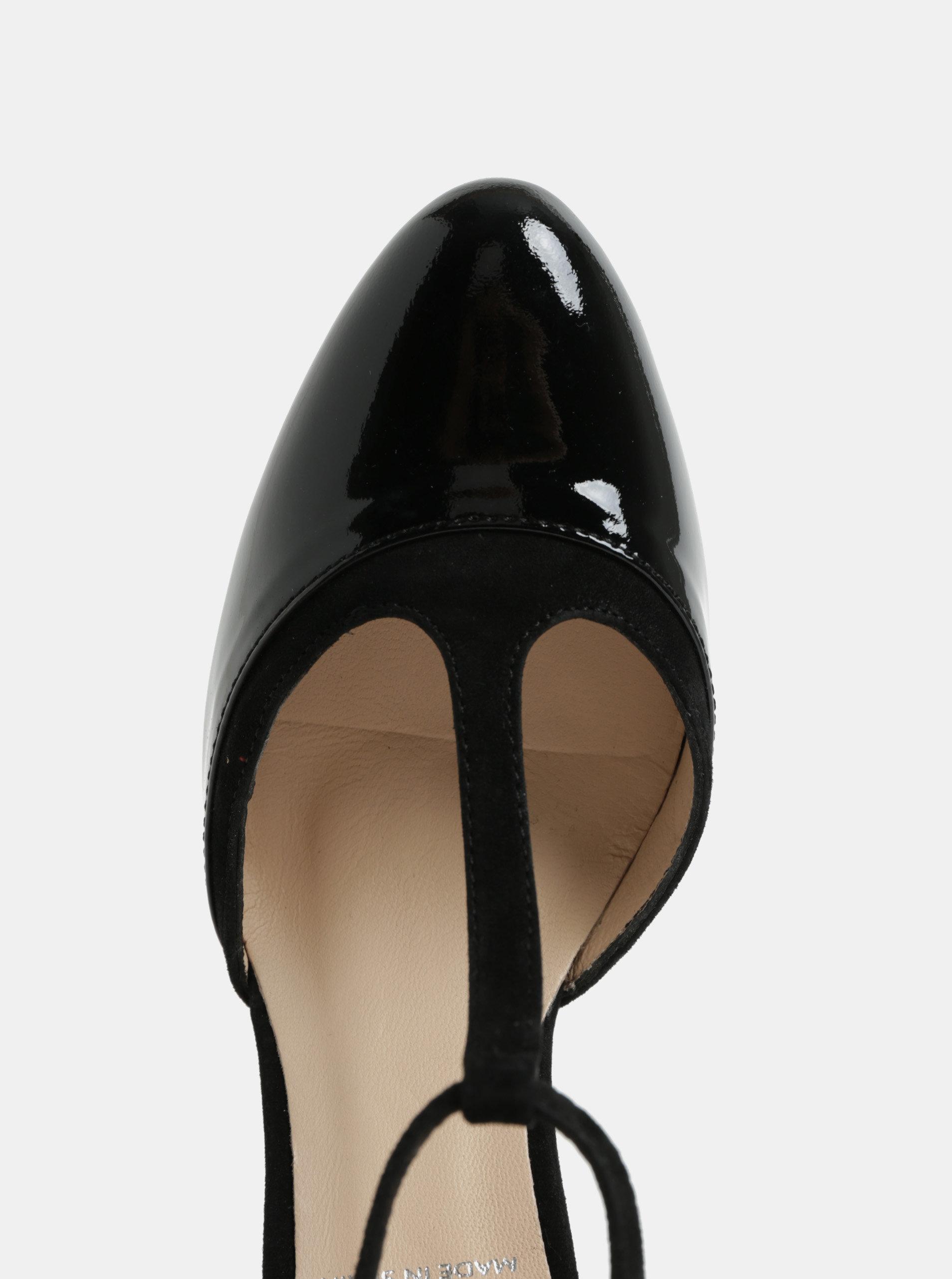 Černé kožené lesklé sandálky na podpatku OJJU - Akční cena ... 27b79185e2