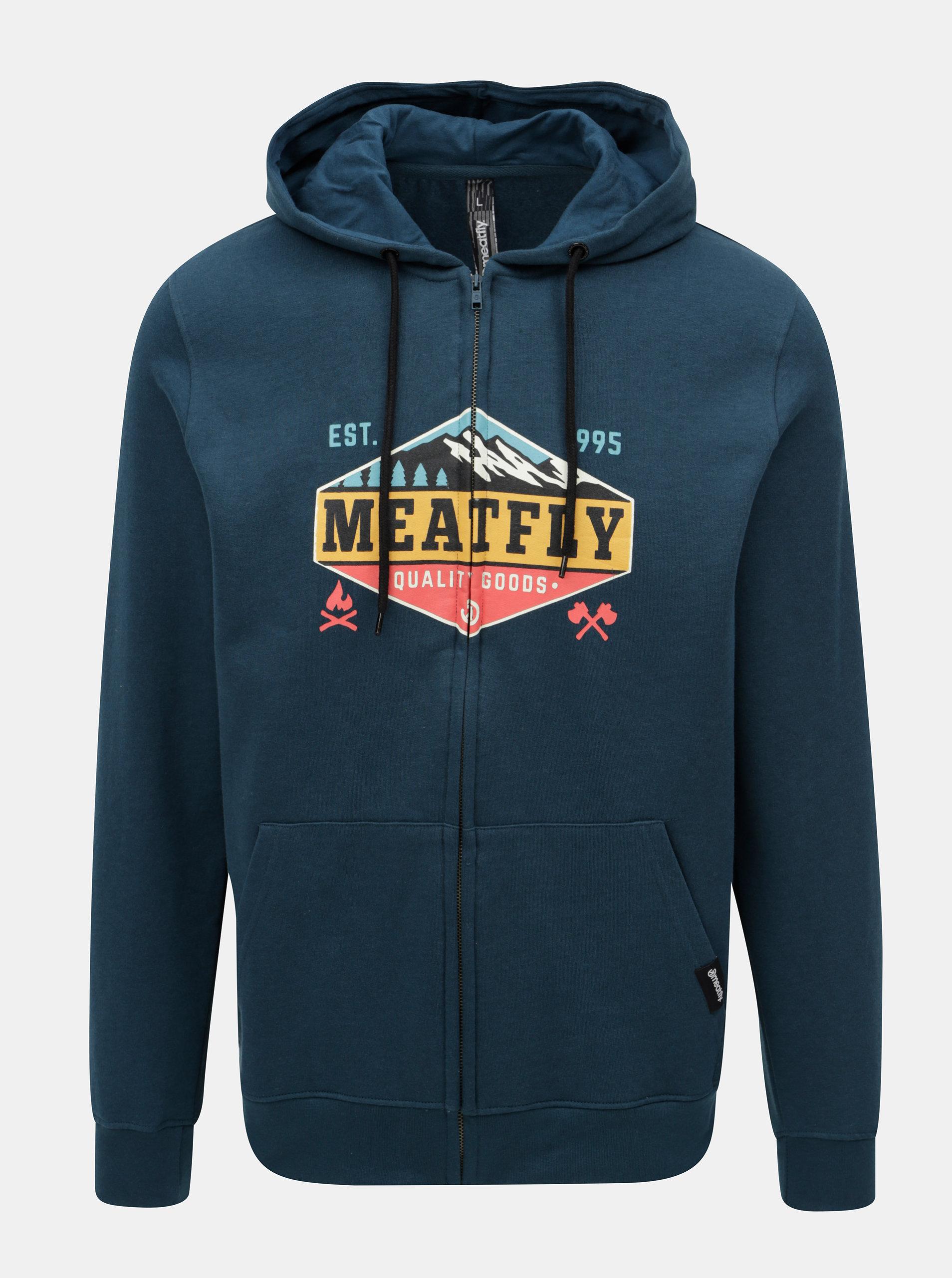 Modrá pánska mikina na zips s potlačou Meatfly ... f5090ce3cd6