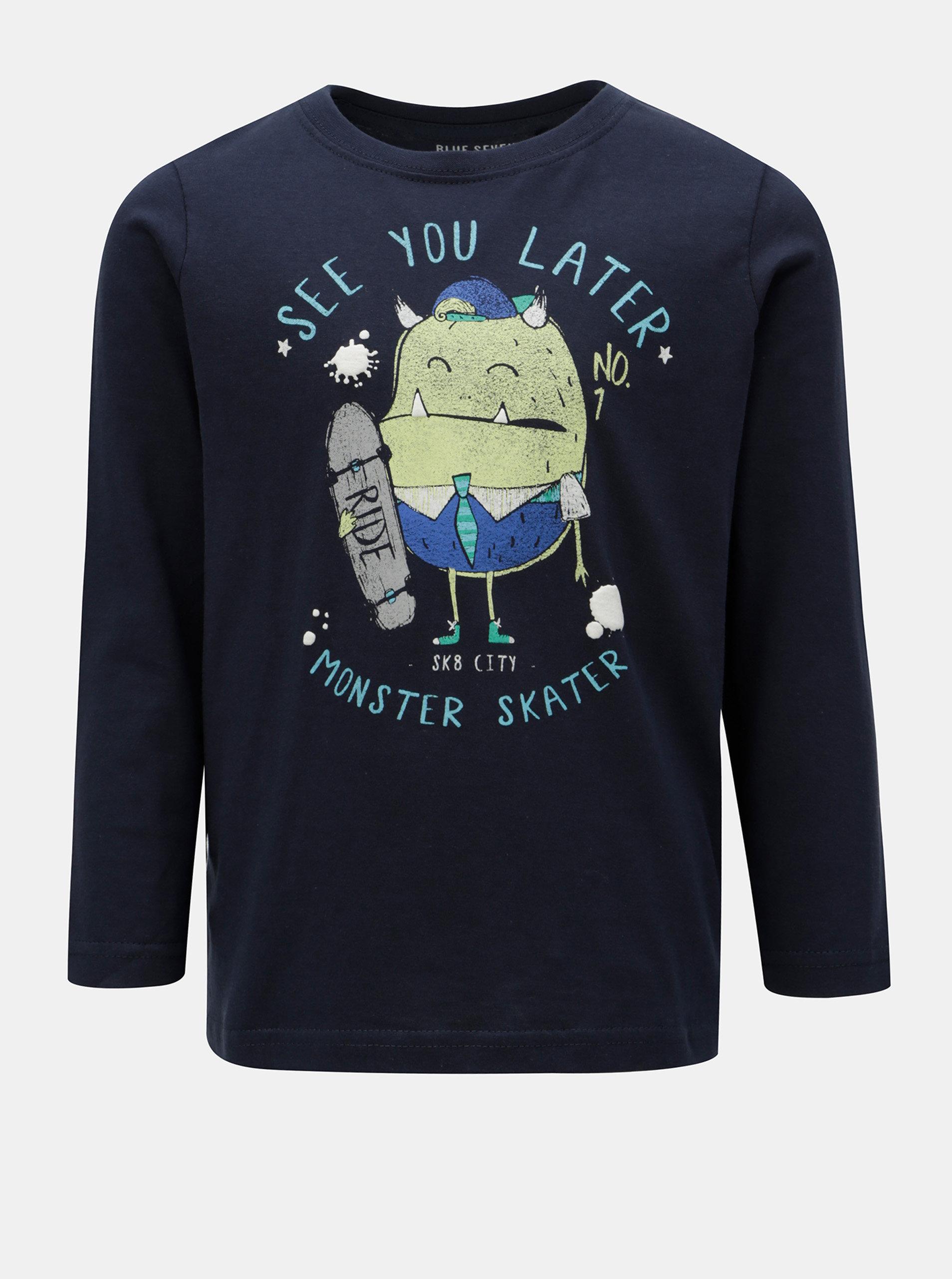 aae6cdd87bf6 Tmavomodré chlapčenské tričko s potlačou a dlhým rukávom Blue Seven ...