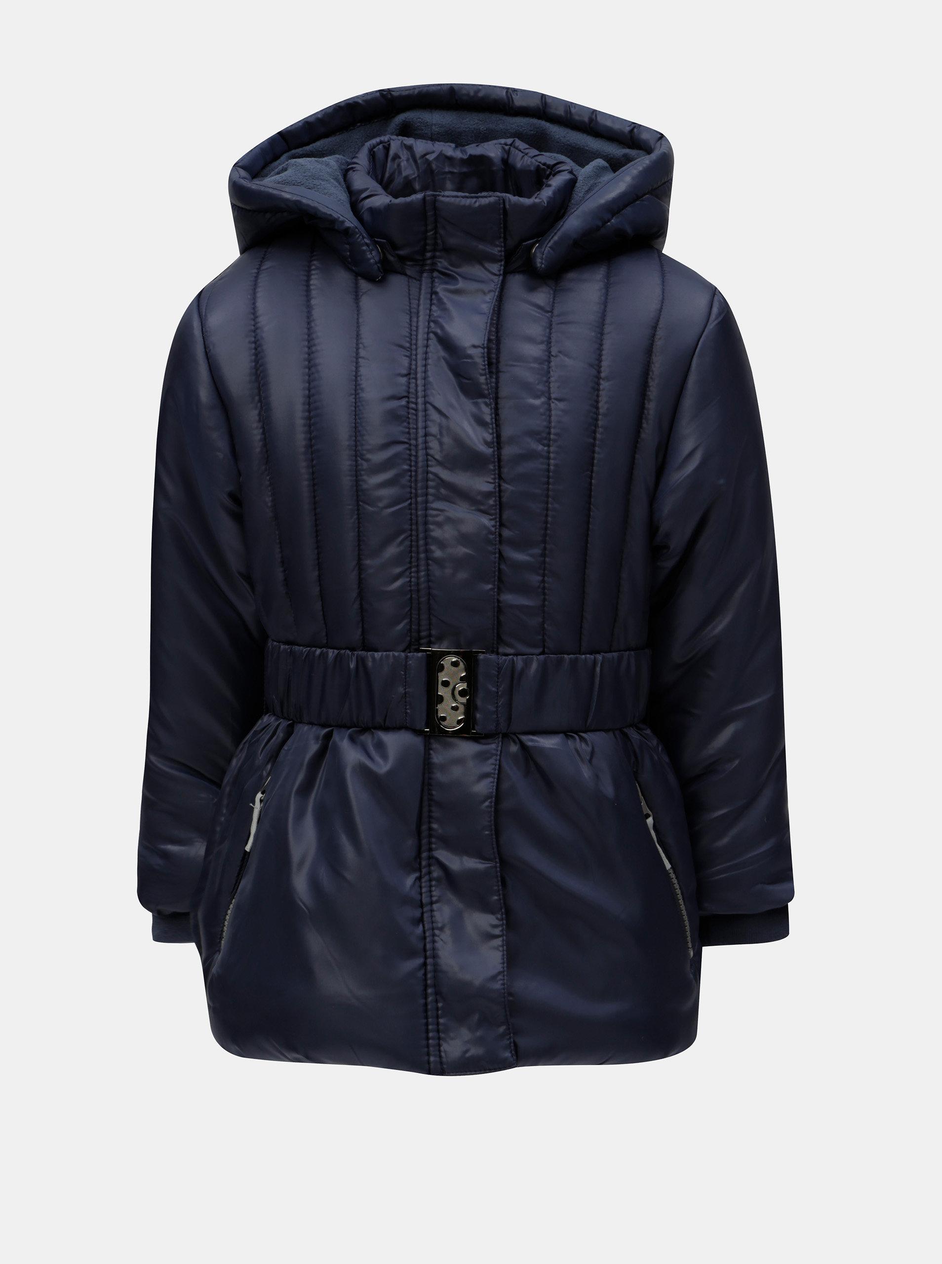 Tmavomodrá dievčenská prešívaná bunda s kapucňou a opaskom Blue Seven ... a9d0f22f0b2