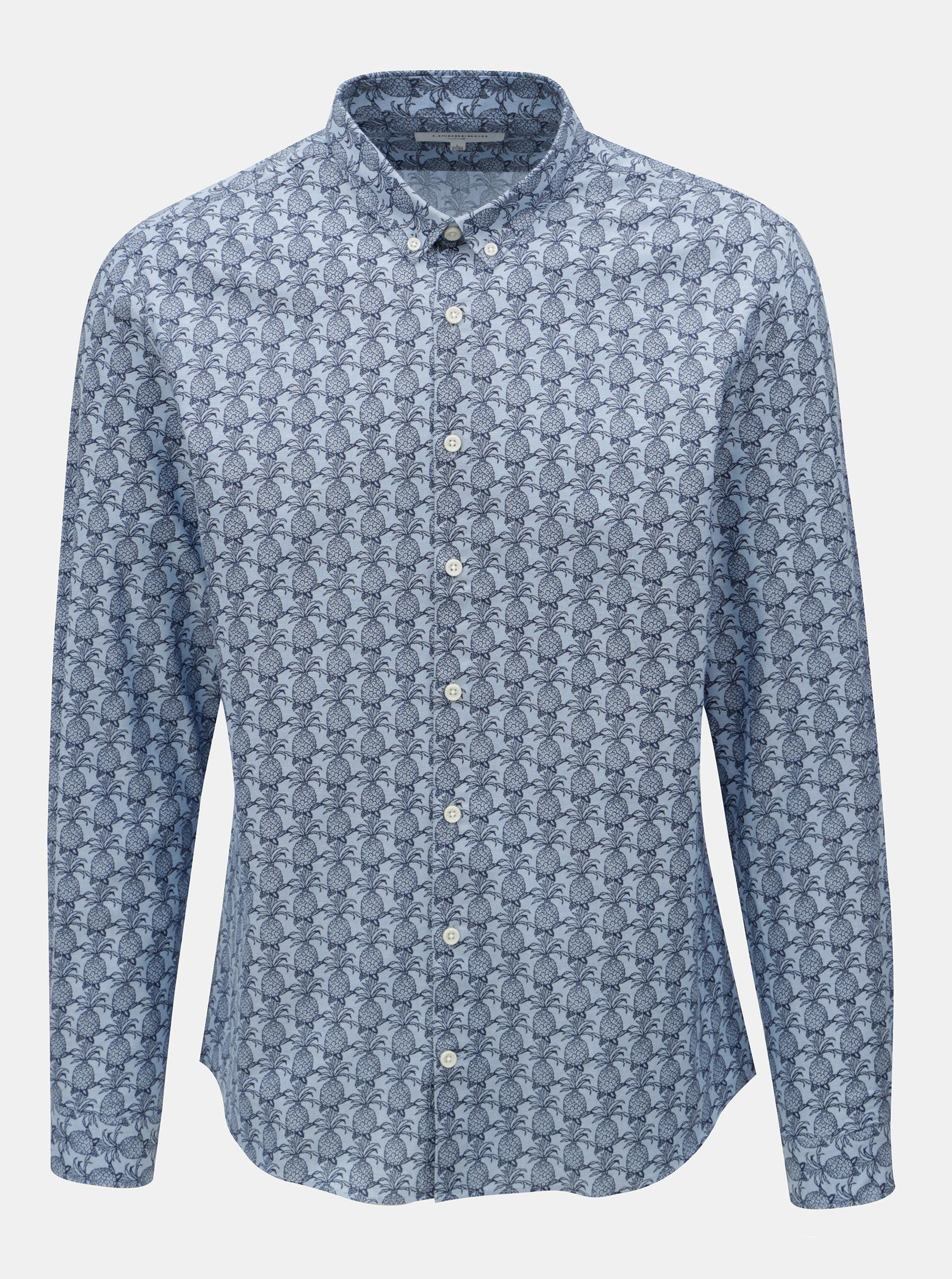 Světle modrá vzorovaná slim fit košile s dlouhým rukávem Lindbergh