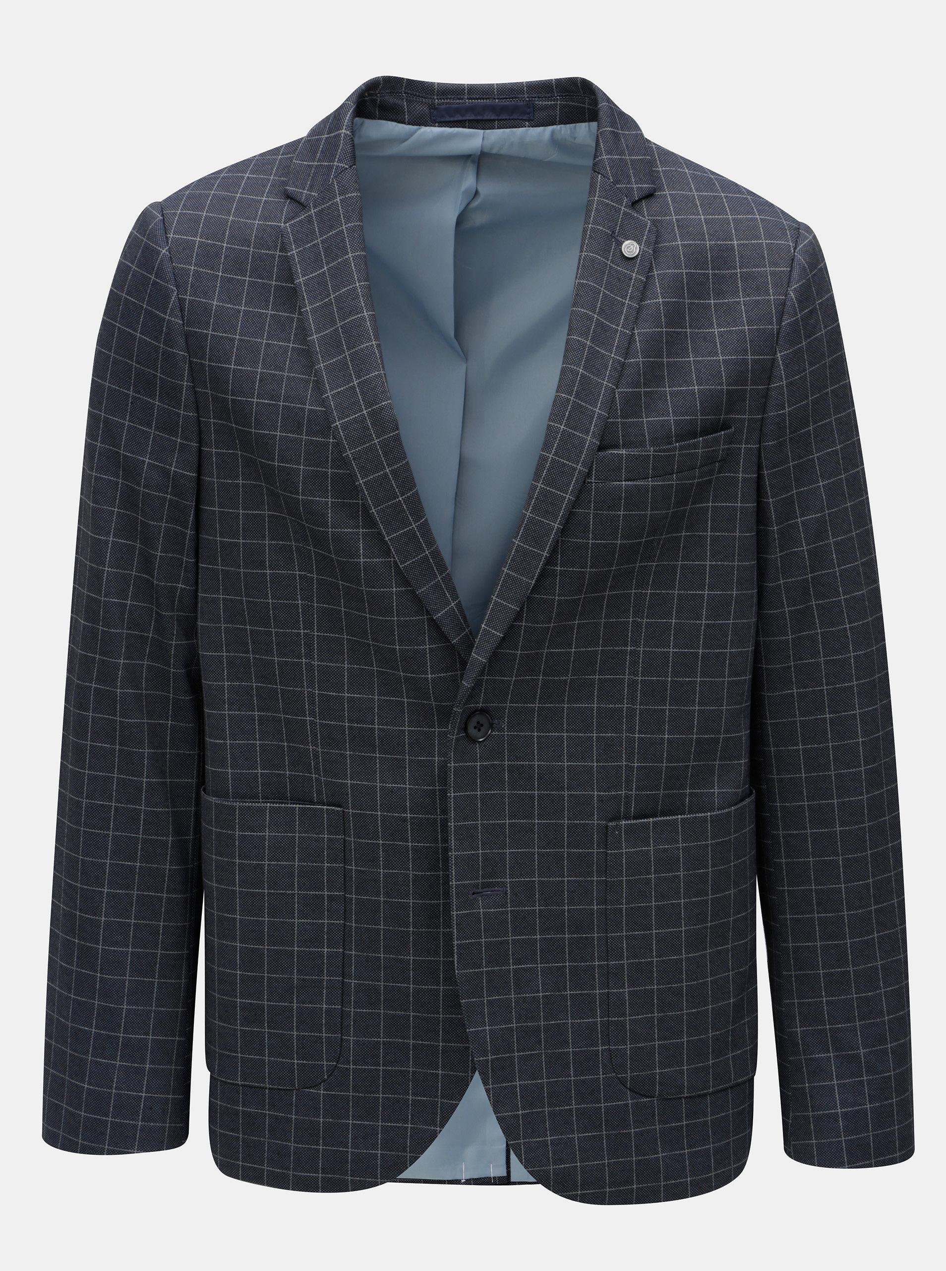 Tmavě modré kostkované sako Burton Menswear London