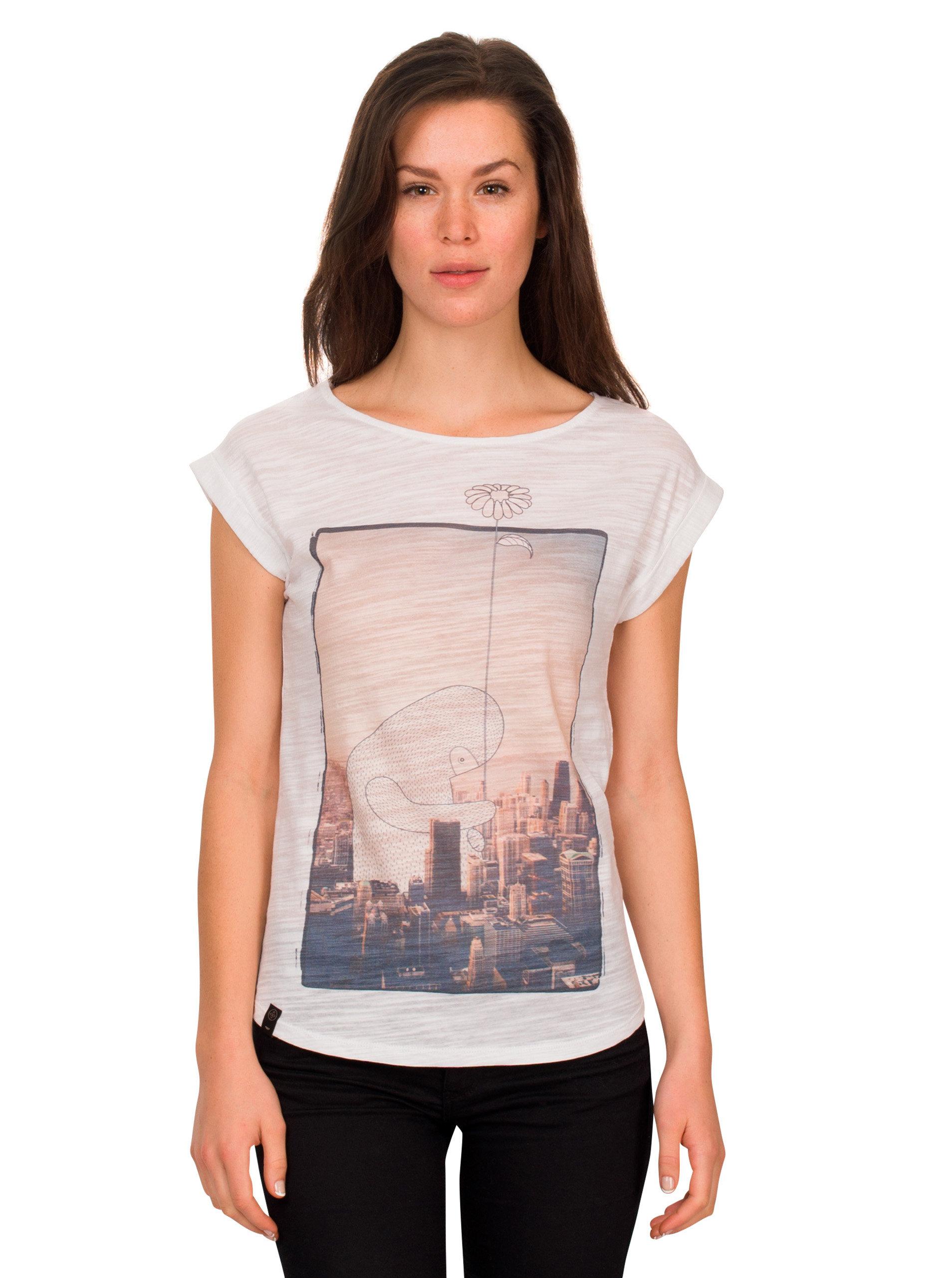 Bílé dámské žíhané tričko WOOX ... 8cf05f8076