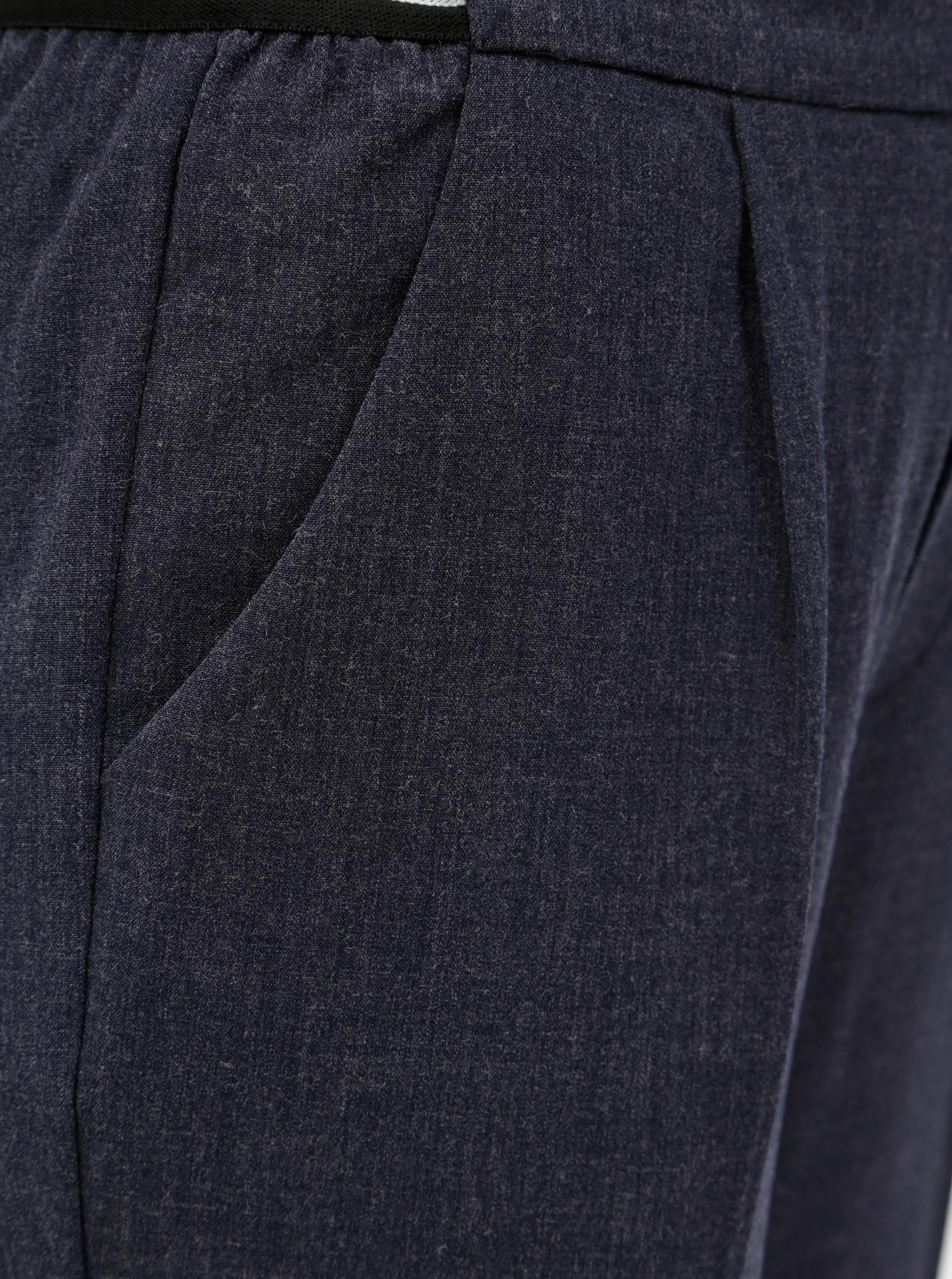 Tmavě modré dámské zkrácené kalhoty s elastickým pasem Broadway Gabby ... 3b652fcb88