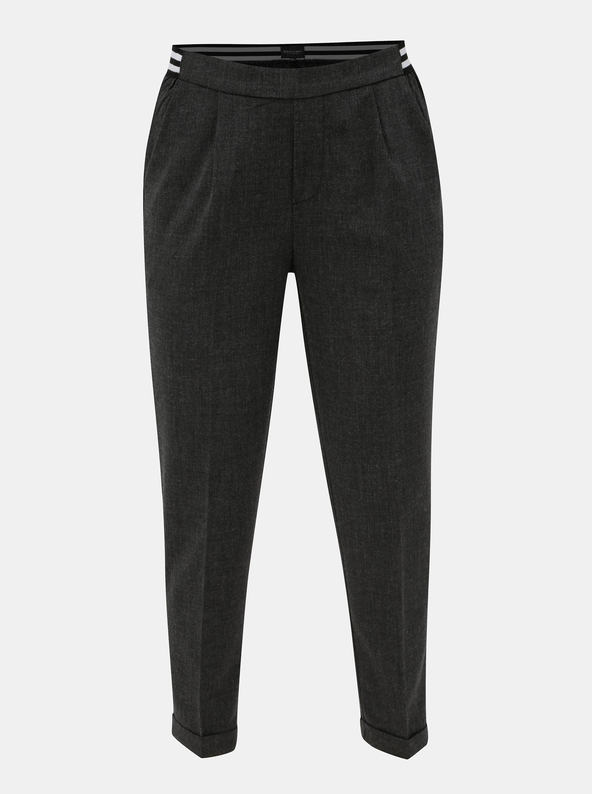 3c262f6c5ff3 Sivé dámske skrátené nohavice s elastickým pásom Broadway Gabby ...