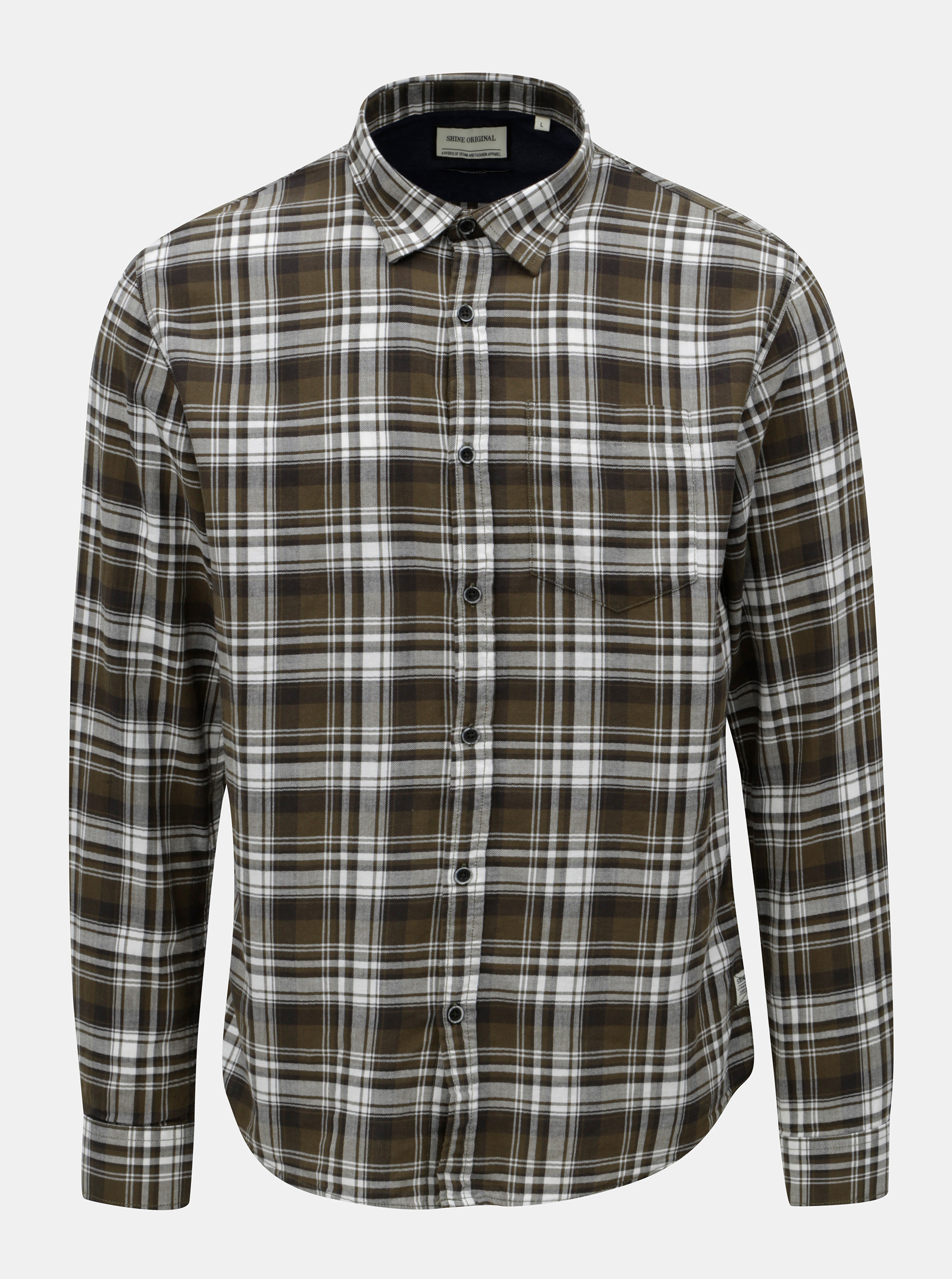 ed3a4c751993 Bílo-zelená kostkovaná košile s náprsní kapsou Shine Original ...