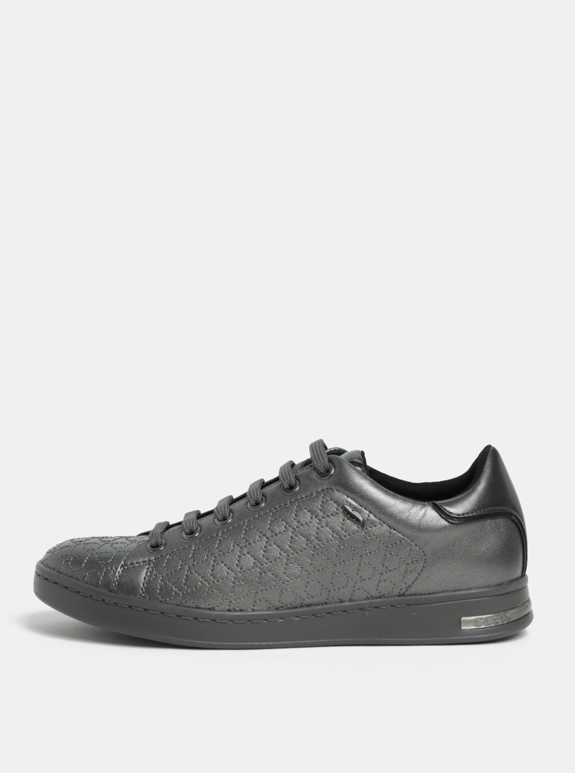 Tmavě šedé lesklé strukturované tenisky Geox Jaysen