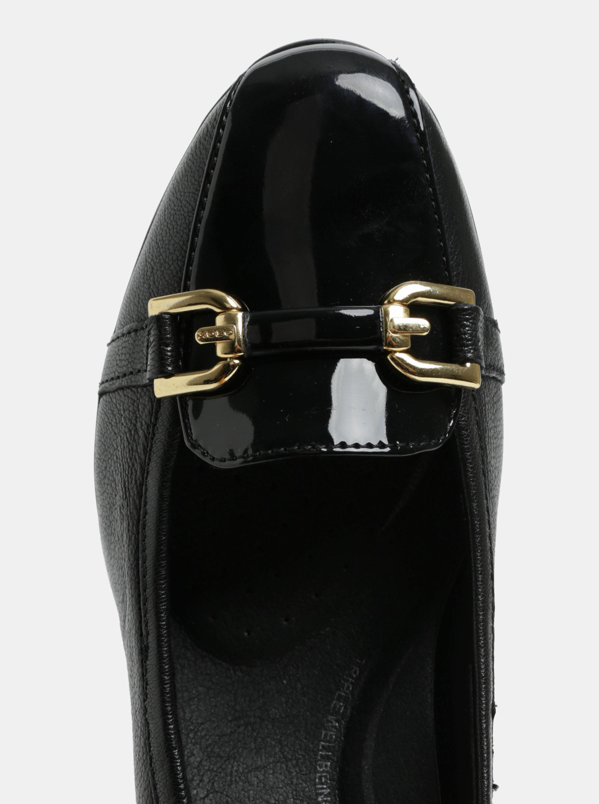 Černé mokasíny na podpatku s ozdobou ve zlaté barvě Geox Annya ... d0d12539b7