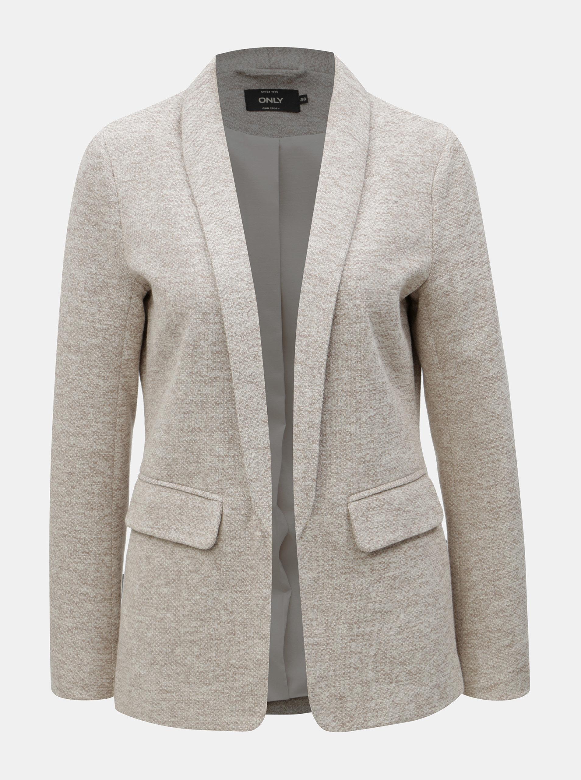 Béžové žíhané sako s kapsami ONLY