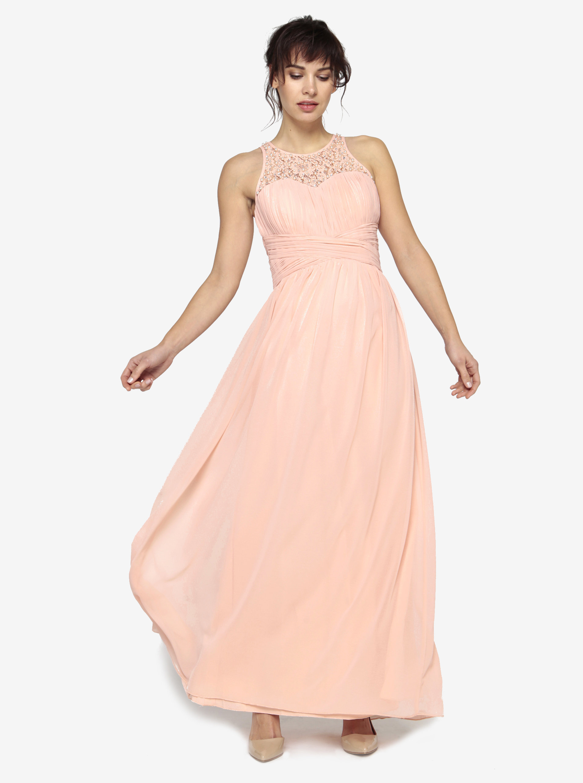 5b0fcb2ccfc Světle růžové maxišaty s plisovaným topem a korálky Little Mistress ...