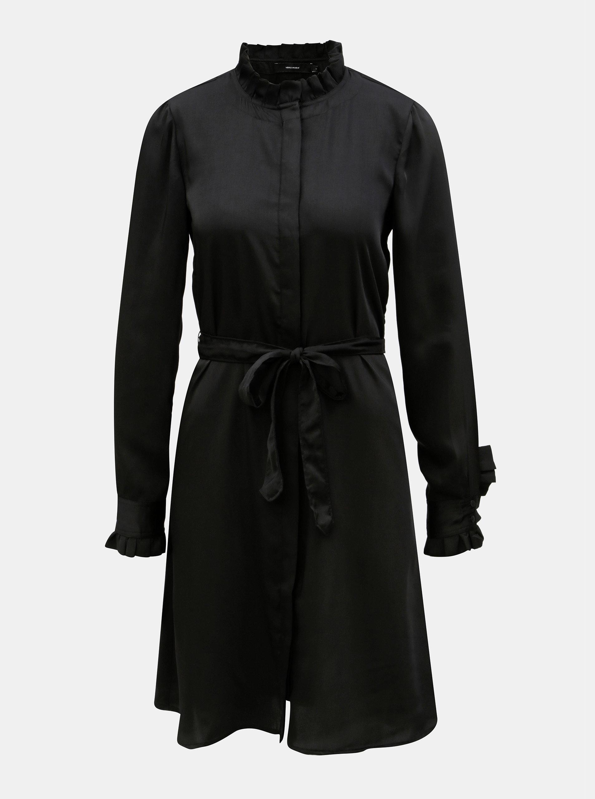 dbfb3922e5 Čierne košeľové šaty so stojačikom a odnímateľným opaskom VERO MODA  Elizabeth ...