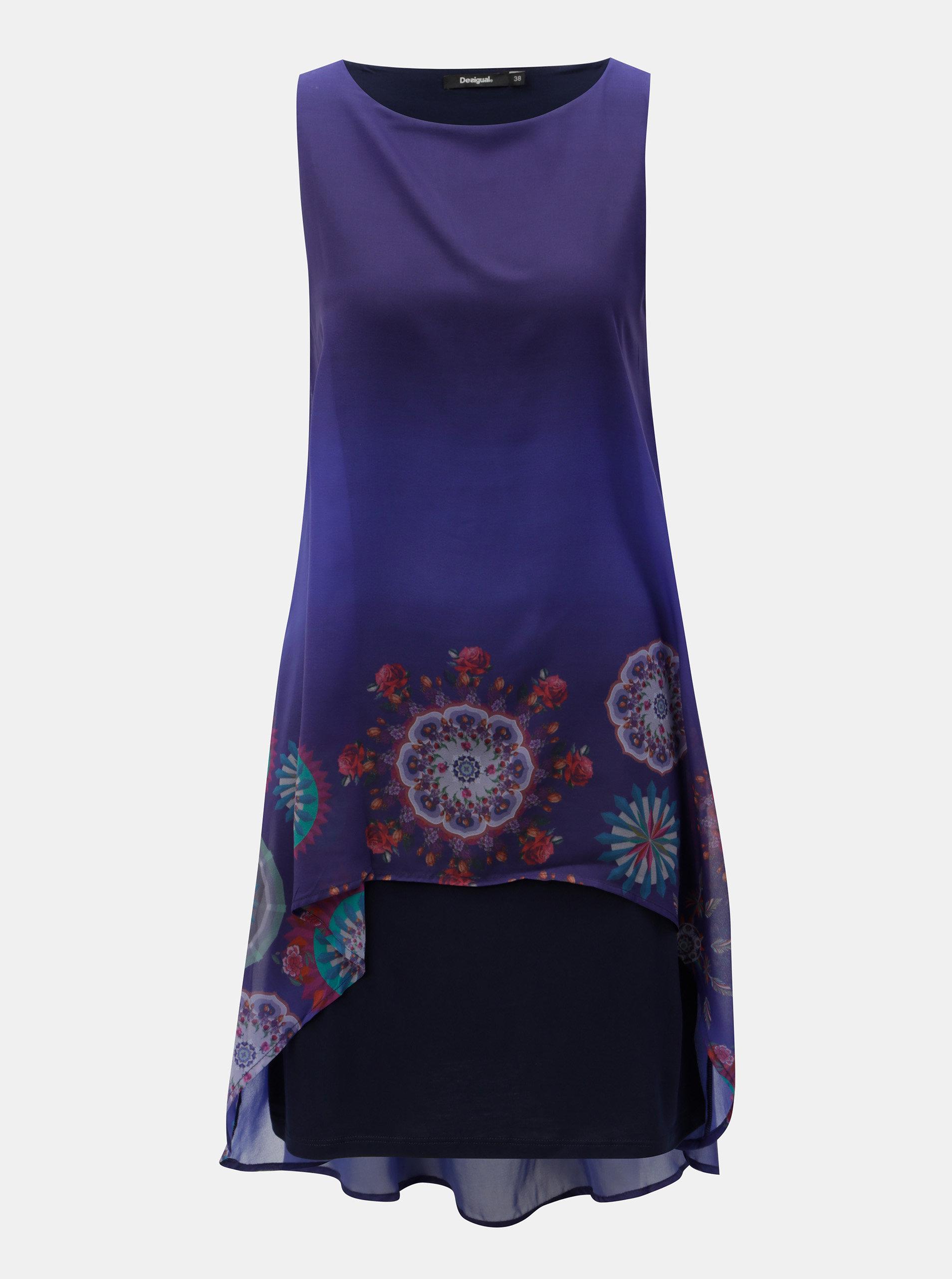Fialové šaty s prodlouženou zadní částí Desigual ... 658064808a0