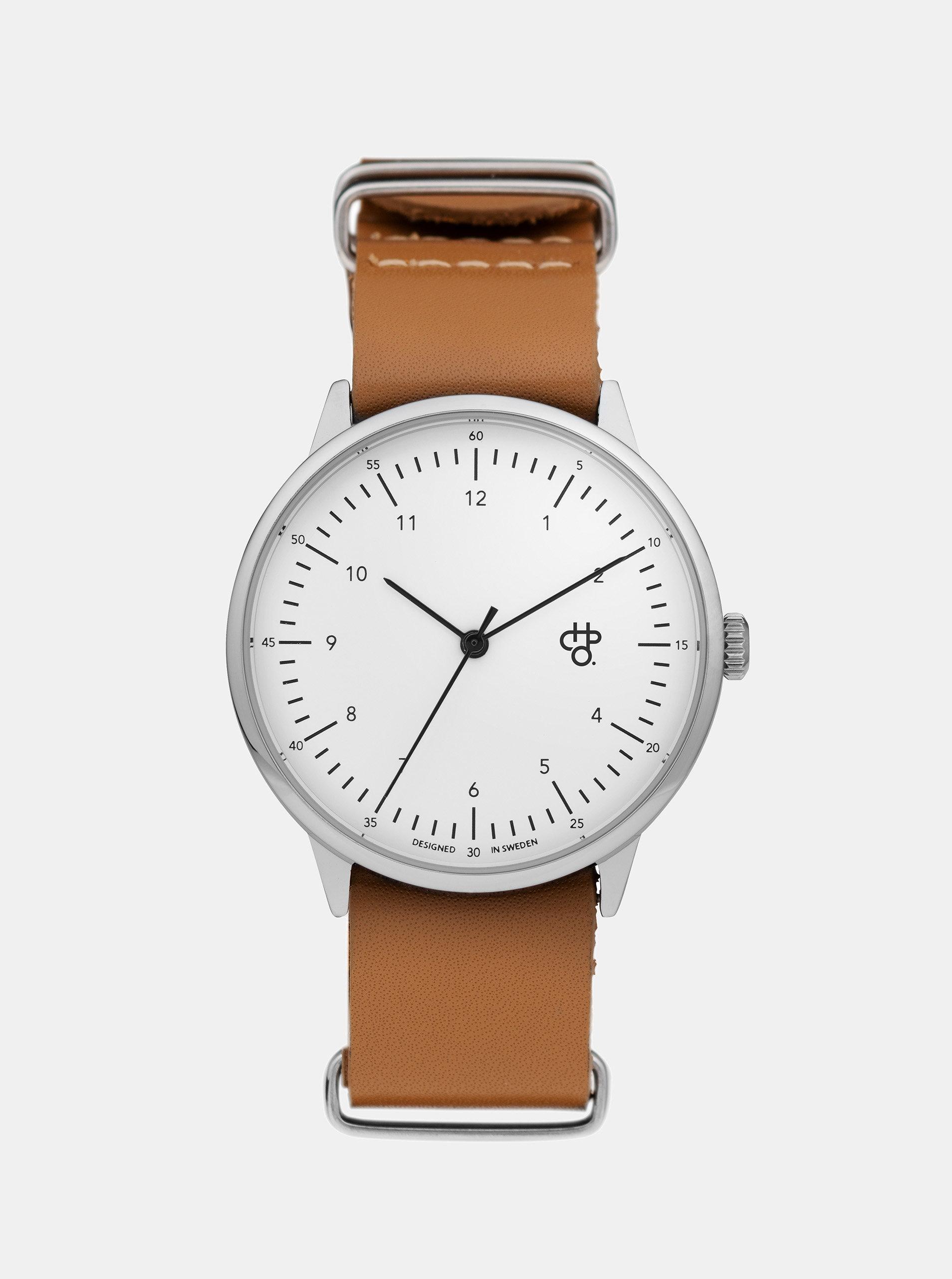 Unisex hodinky s hnědým koženým páskem CHPO Harold