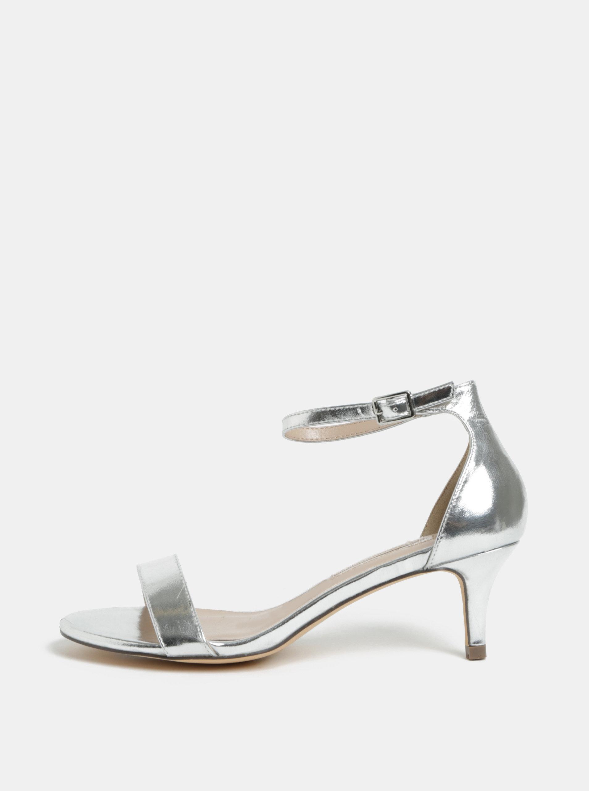 Sandálky ve stříbrné barvě na jehlovém podpatku Dorothy Perkins Sunset