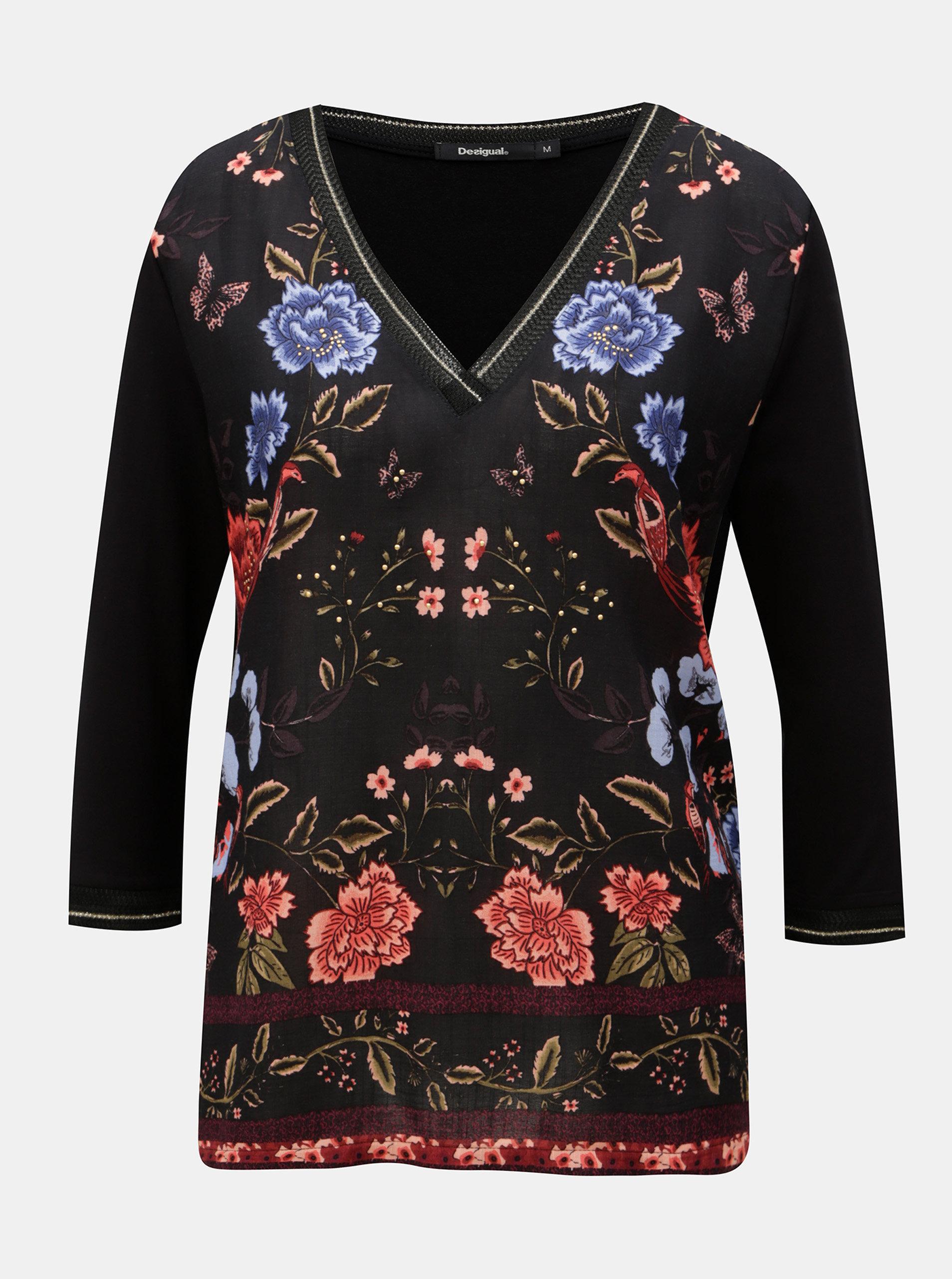 27a9ea20a Čierne kvetované tričko s 3/4 rukávom Desigual | ZOOT.sk