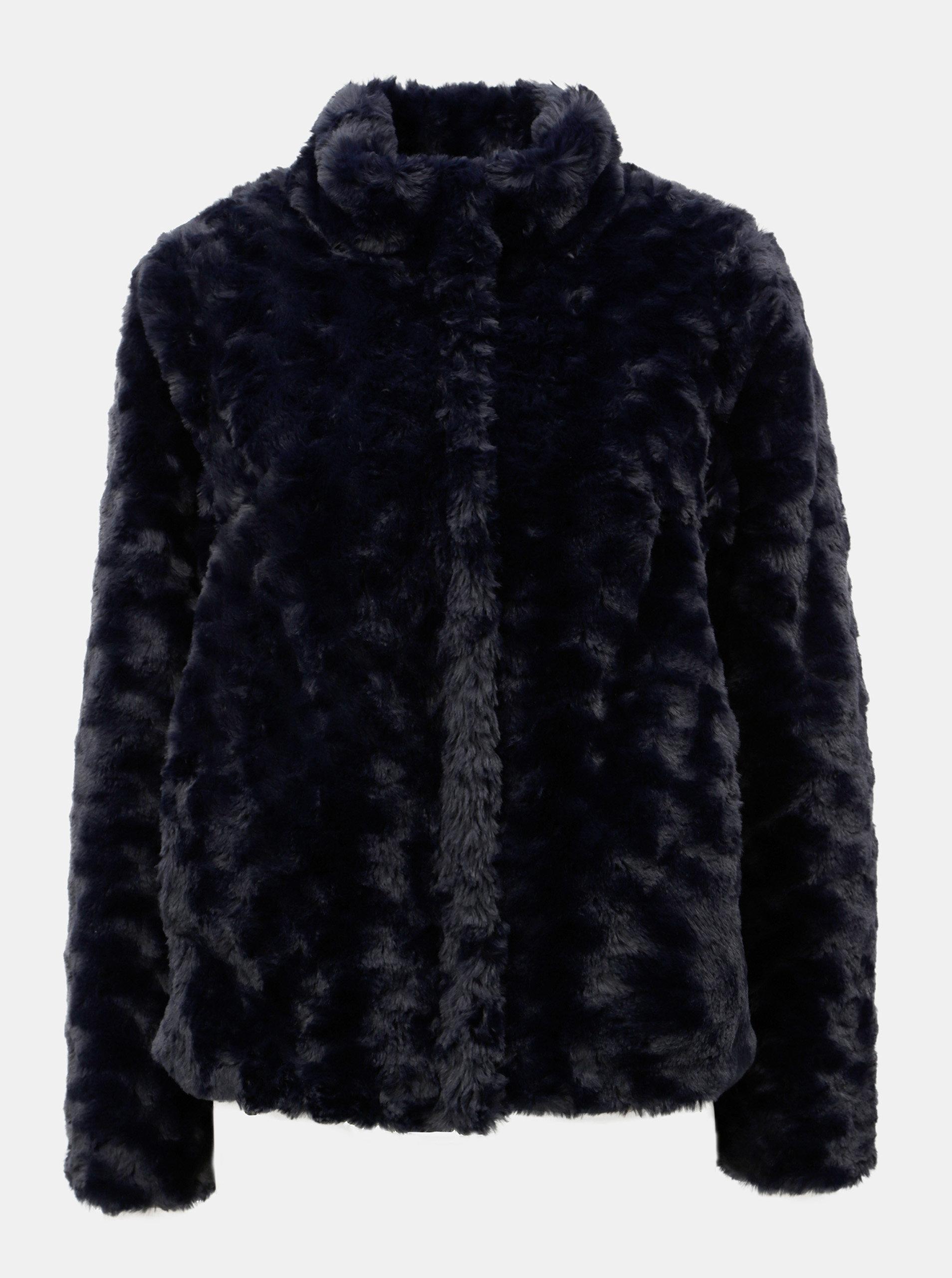 098624b33 Tmavomodrý krátky kabát z umelej kožušiny Dorothy Perkins | ZOOT.sk